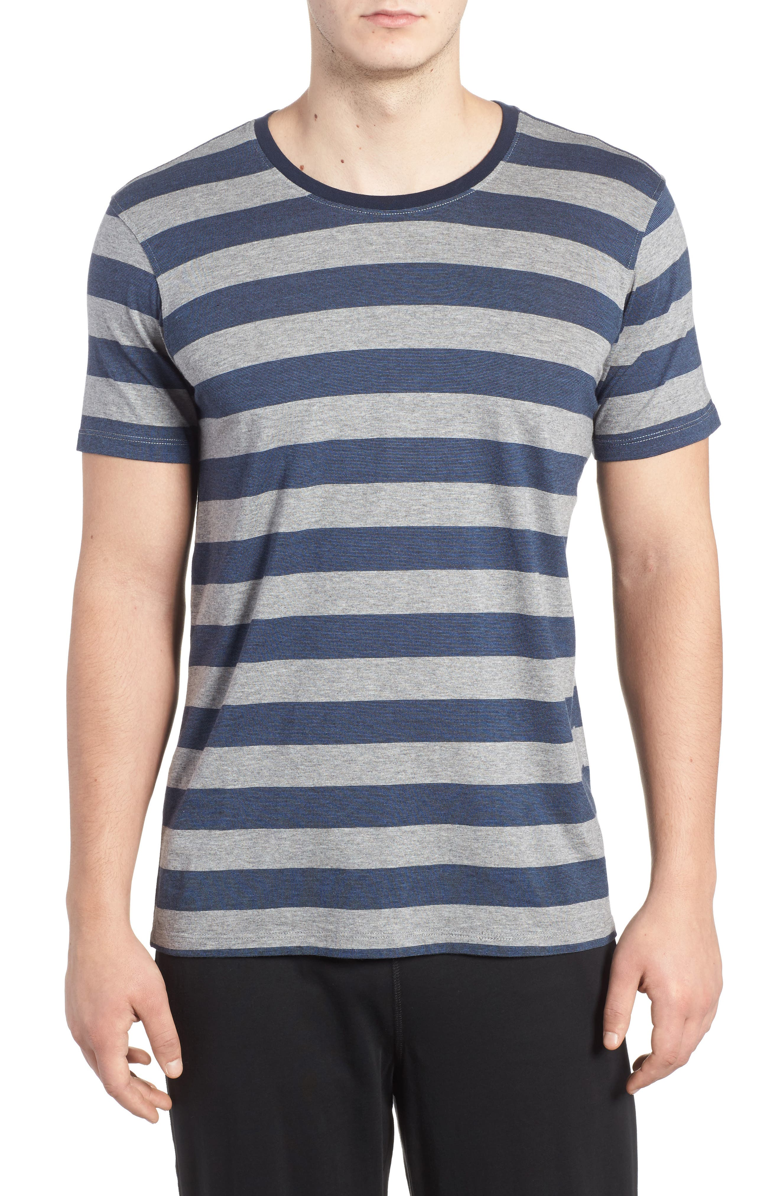 Stripe Pima Cotton & Modal Crewneck T-Shirt,                         Main,                         color, Grey/ Blue