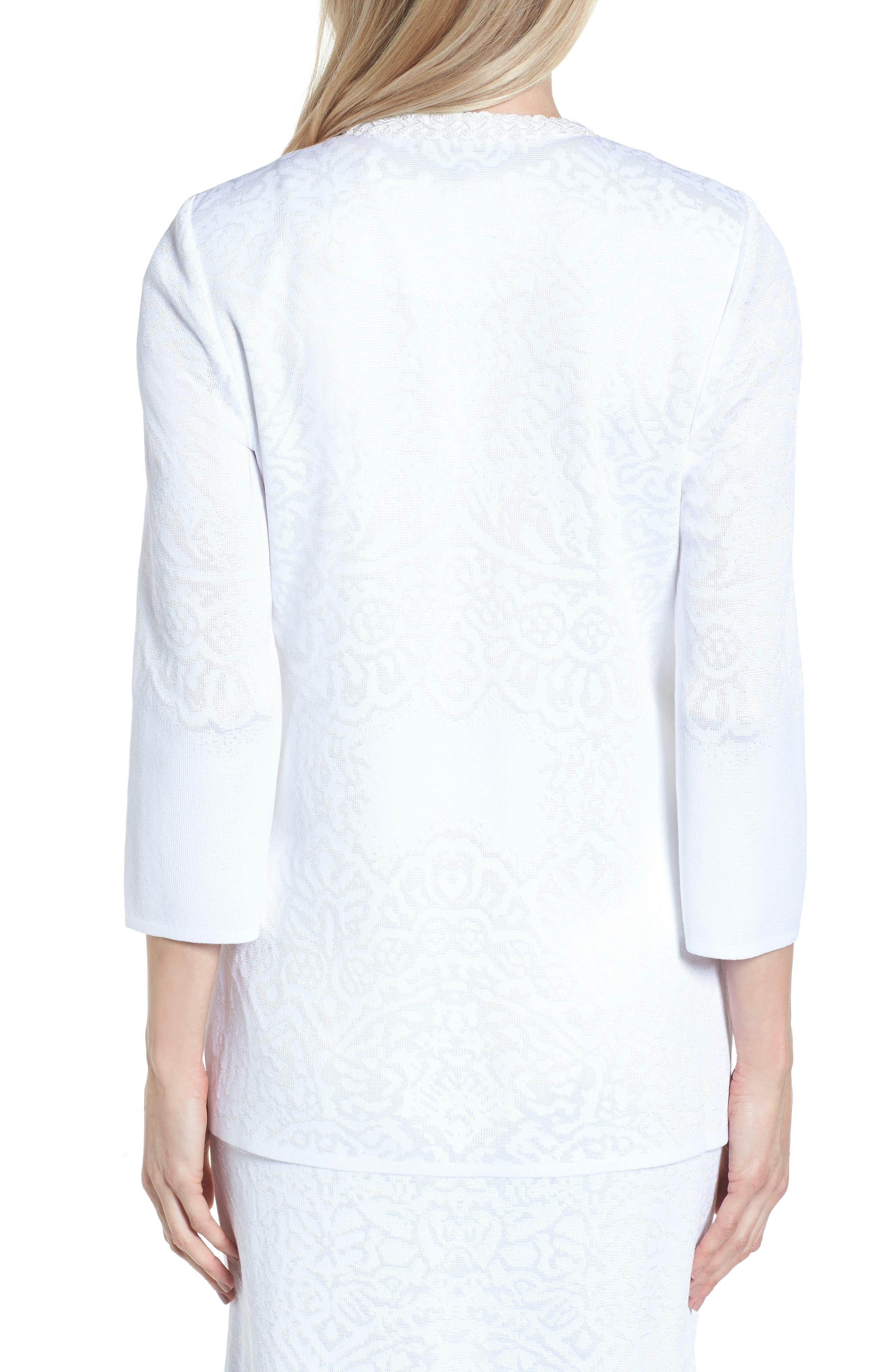 Floral Jacquard Jacket,                             Alternate thumbnail 2, color,                             White