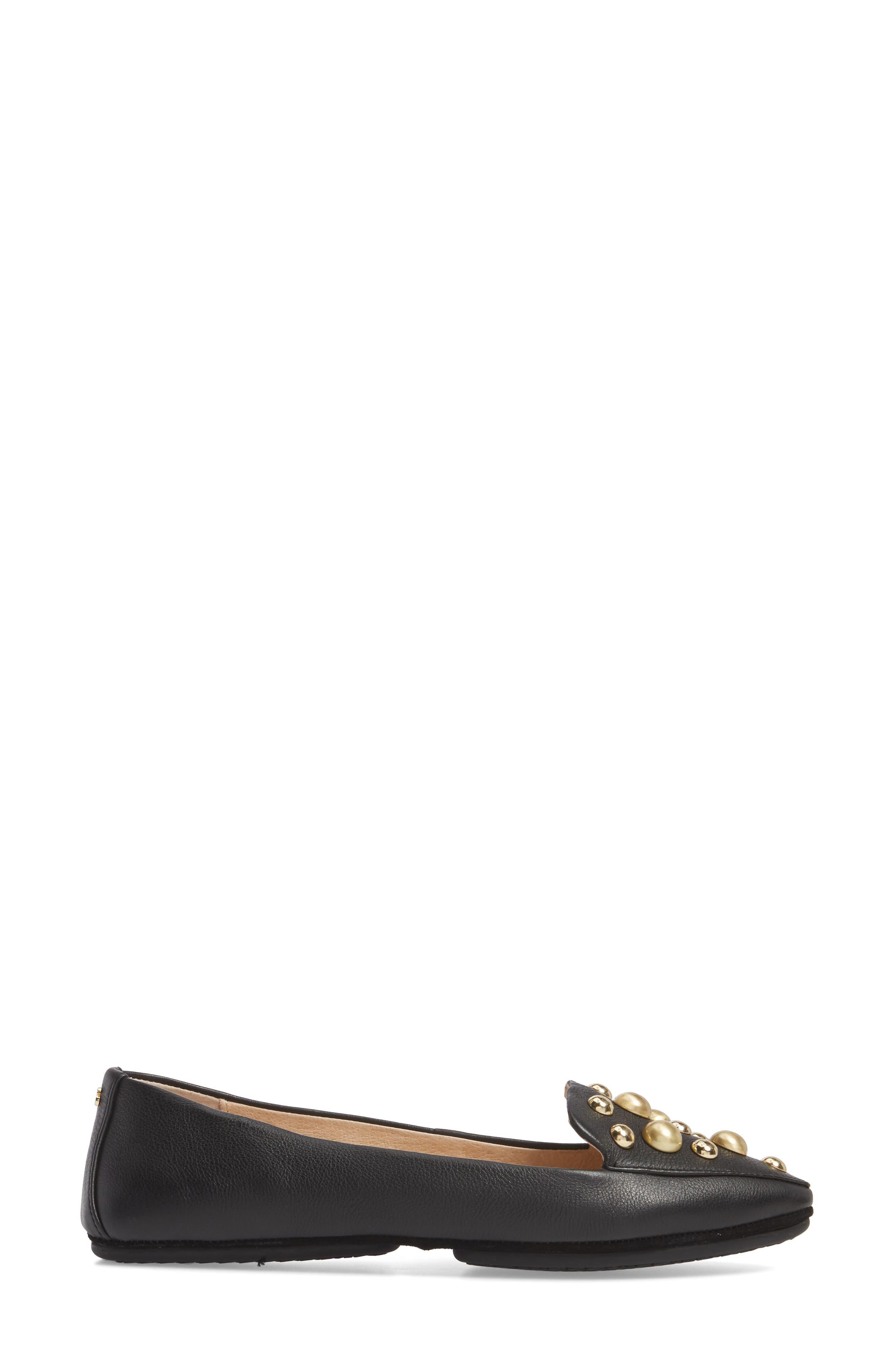 Vera Studded Loafer,                             Alternate thumbnail 3, color,                             Black/ Black Leather