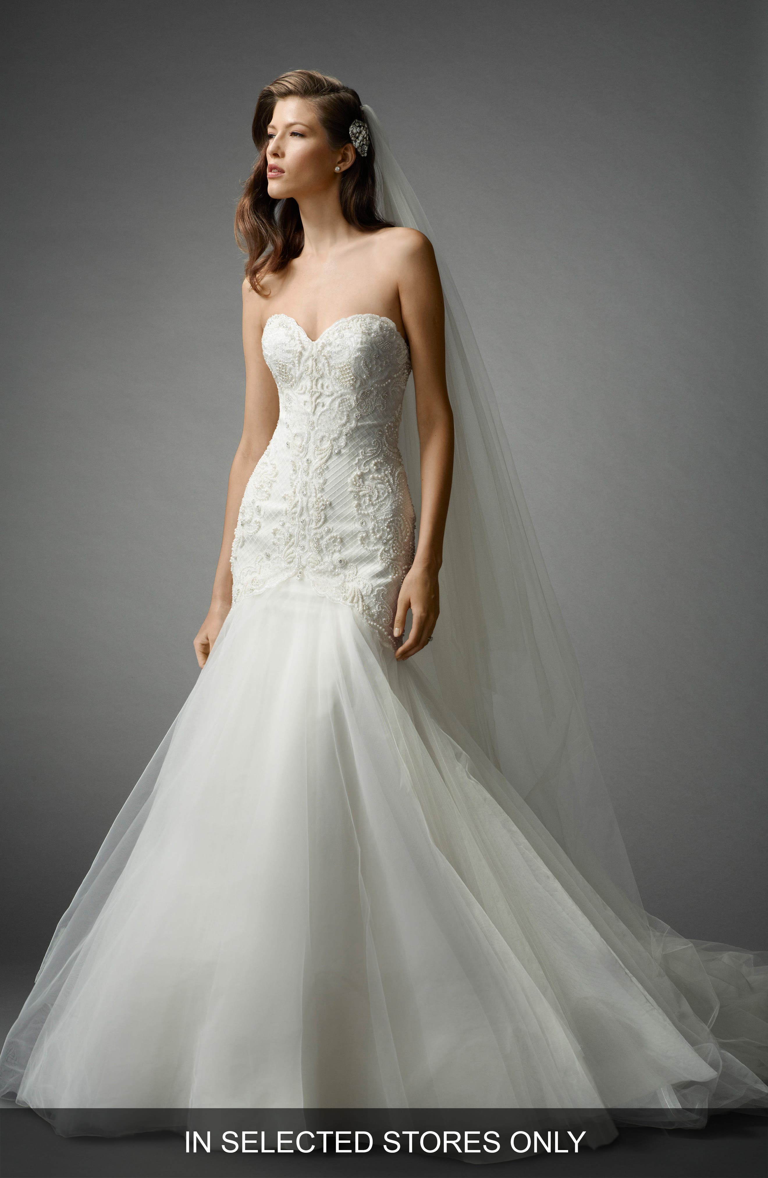 Shaina Beaded Lace & Tulle Mermaid Gown,                         Main,                         color, Ivory/Ivory