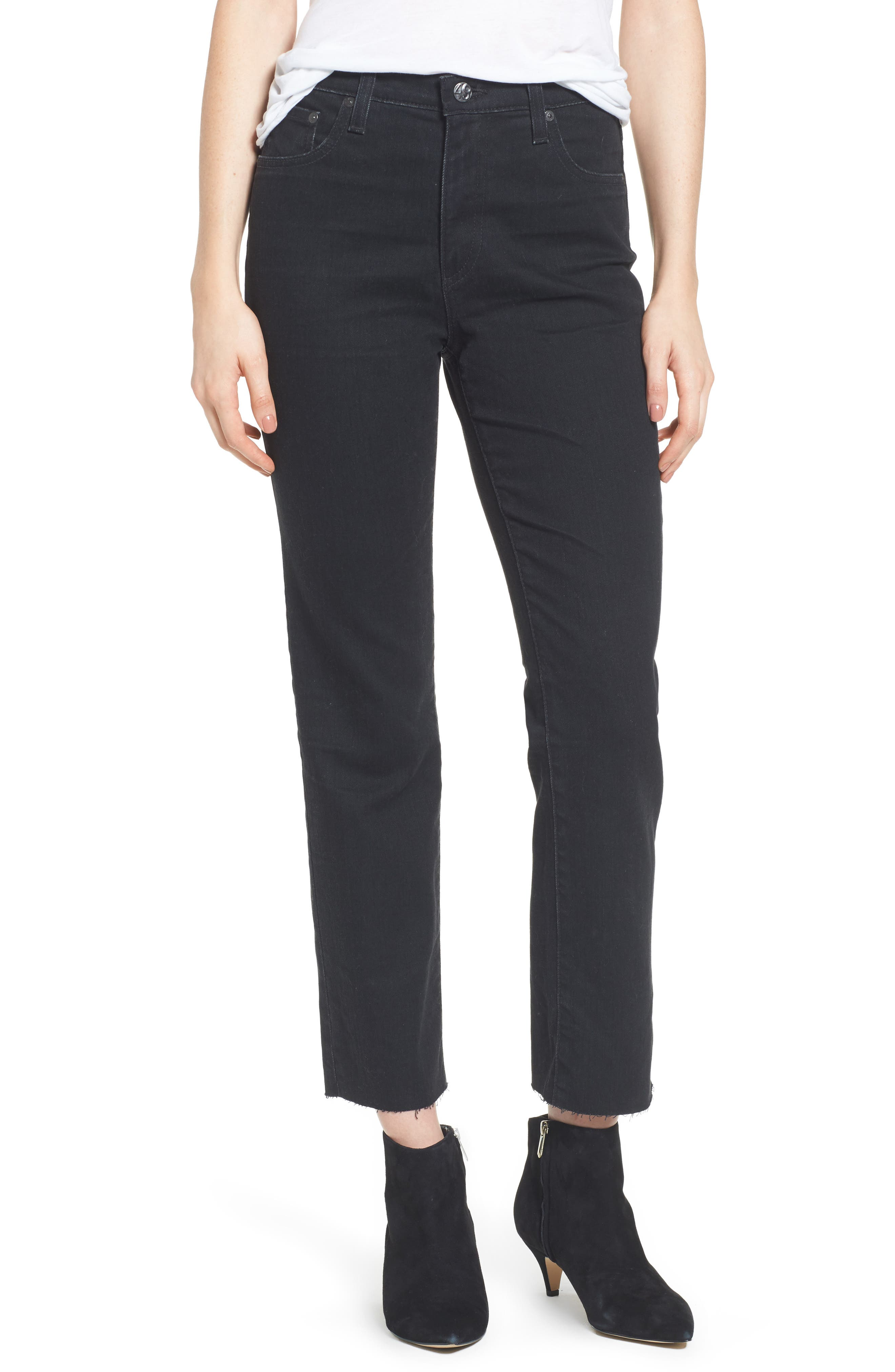 The Isabelle High Waist Crop Straight Leg Jeans,                             Main thumbnail 1, color,                             1 Year Black Hawk