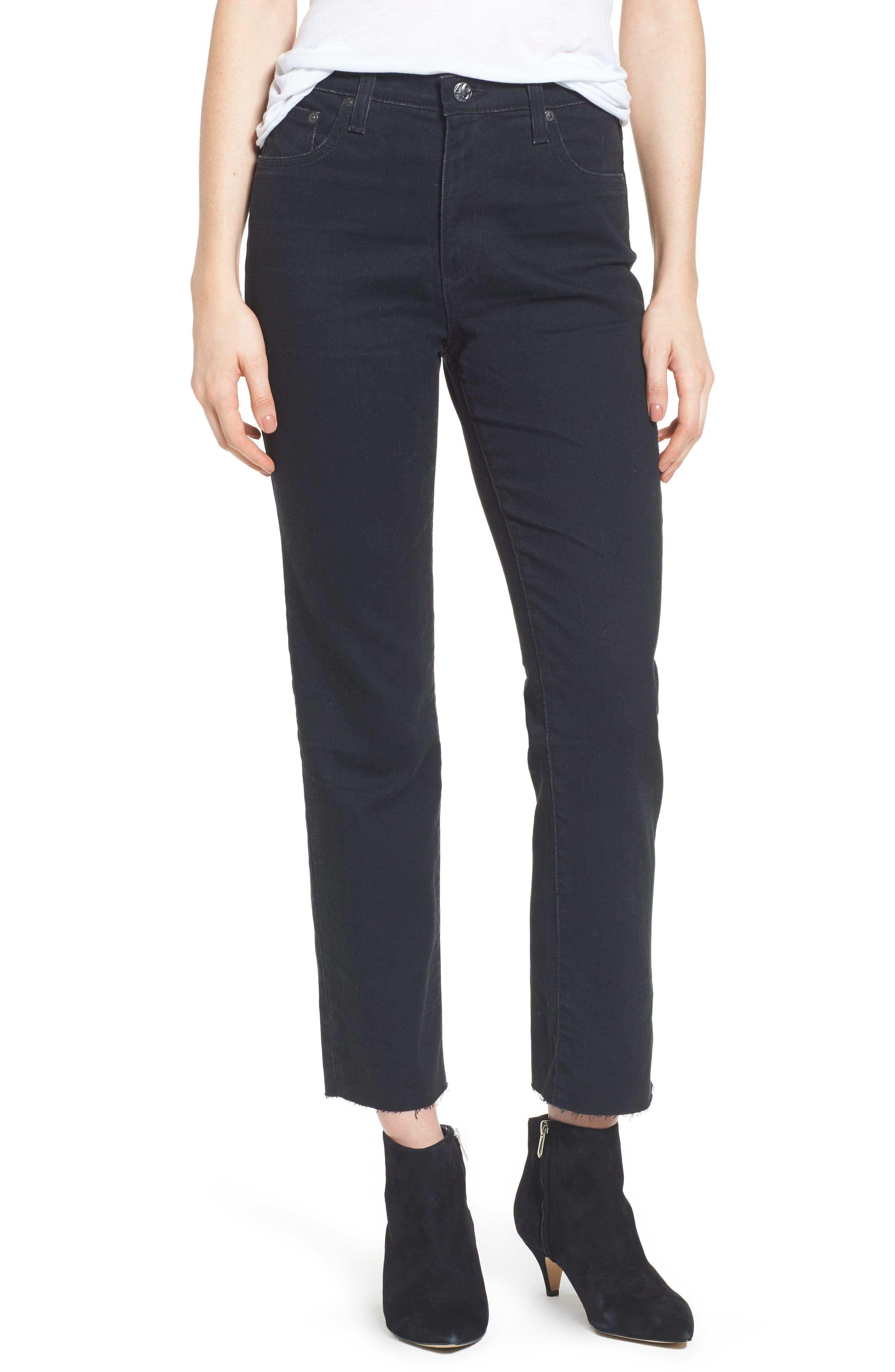 Main Image - AG The Isabelle High Waist Crop Straight Leg Jeans (1 Year Black Hawk)
