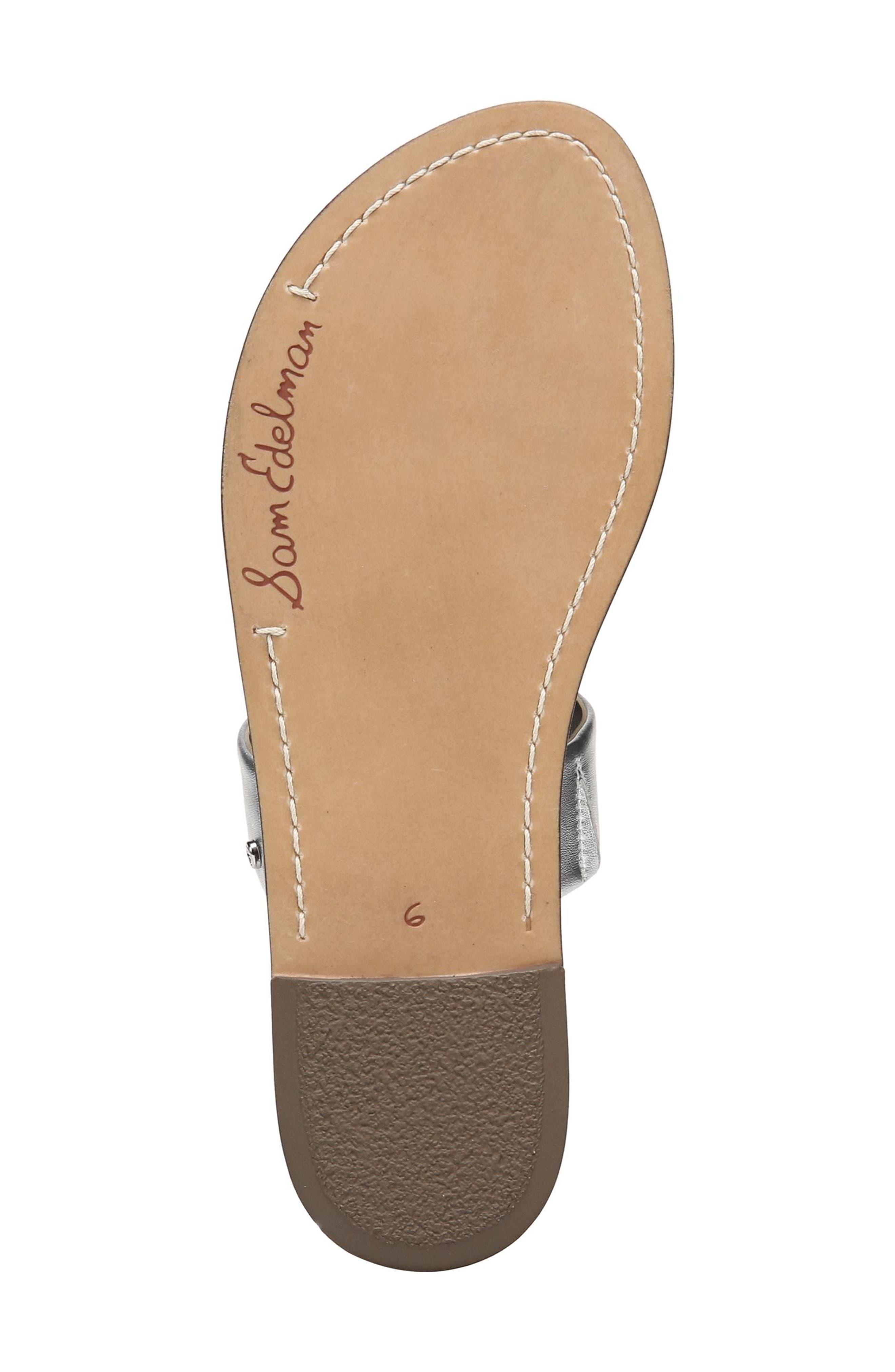 Gala Two Strap Slide Sandal,                             Alternate thumbnail 6, color,                             Silver Leather