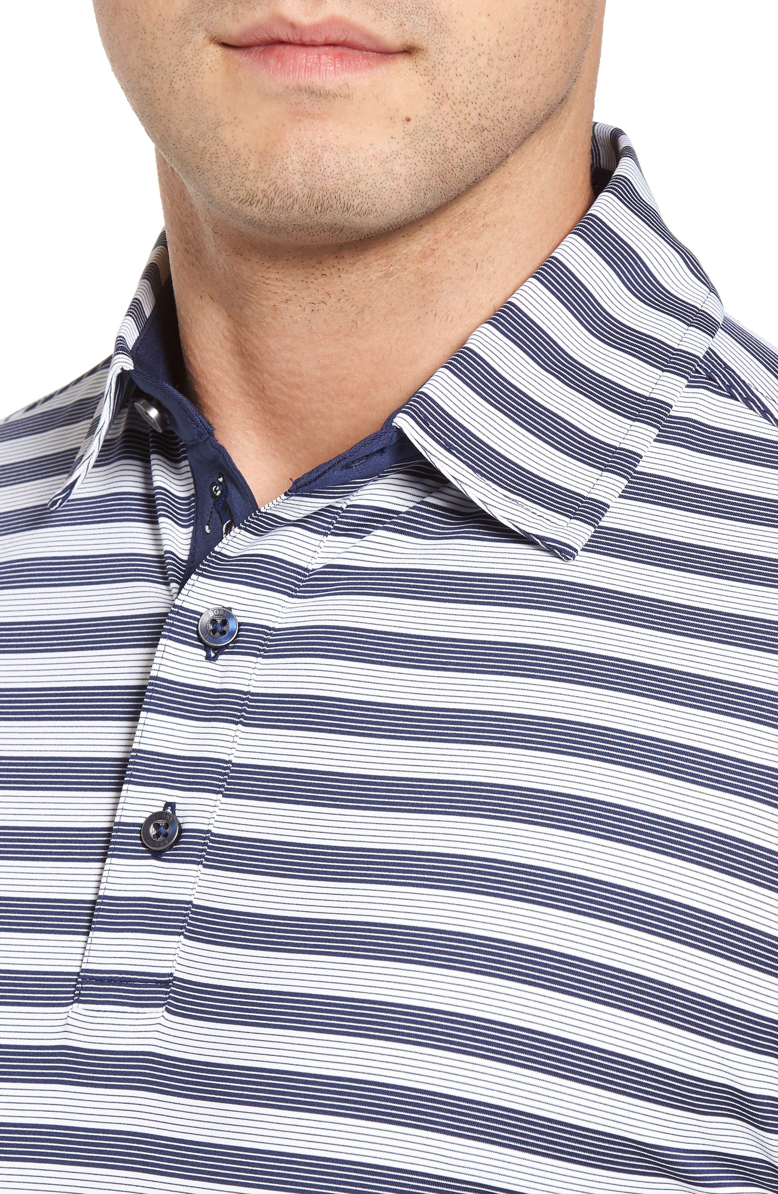XH2O Del Mar Stripe Jersey Polo,                             Alternate thumbnail 4, color,                             Summer Navy