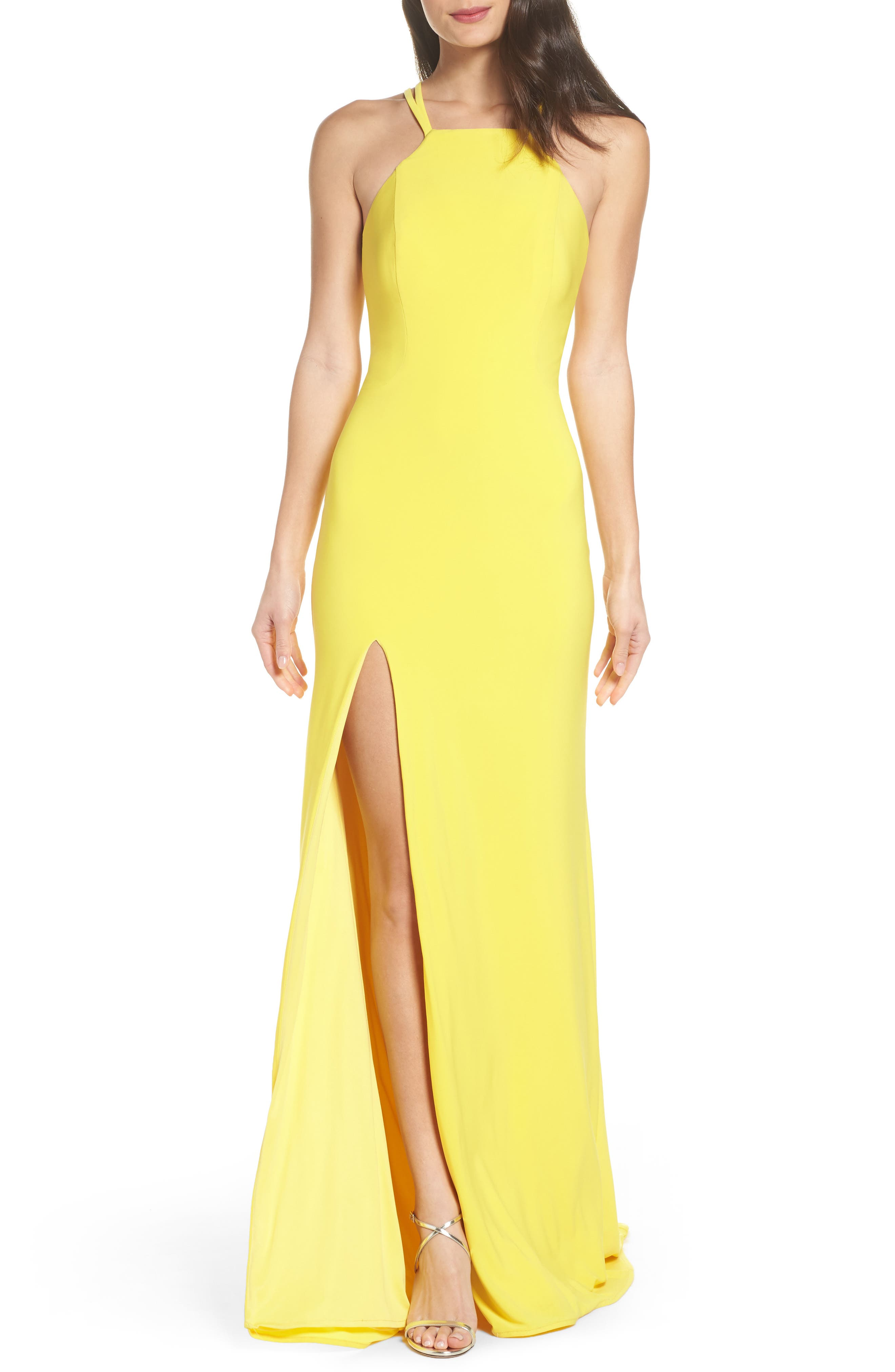 Open Back Jersey Halter Gown,                         Main,                         color, Yellow