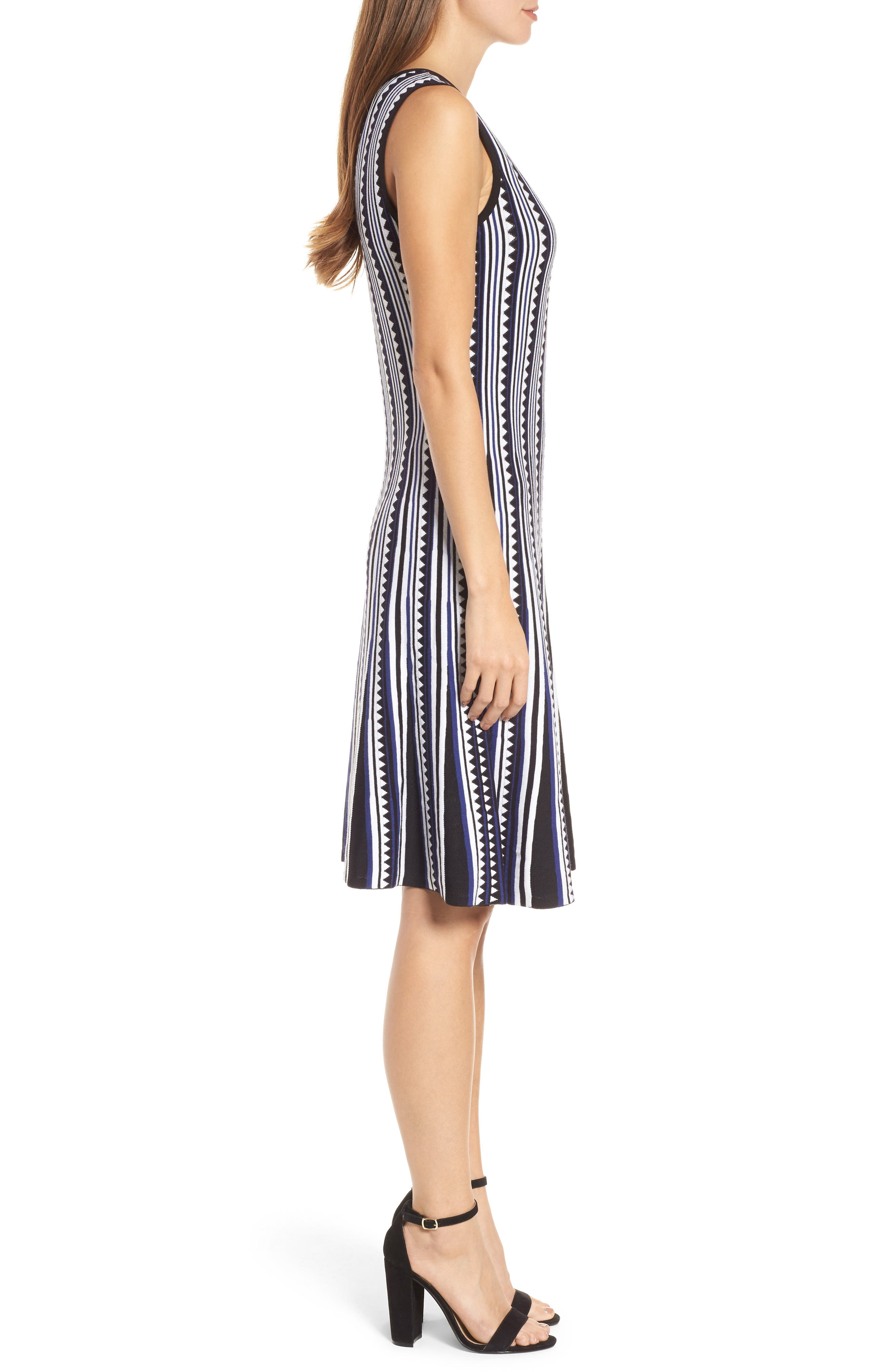 Triangle Knit Twirl Dress,                             Alternate thumbnail 3, color,                             Blue Multi