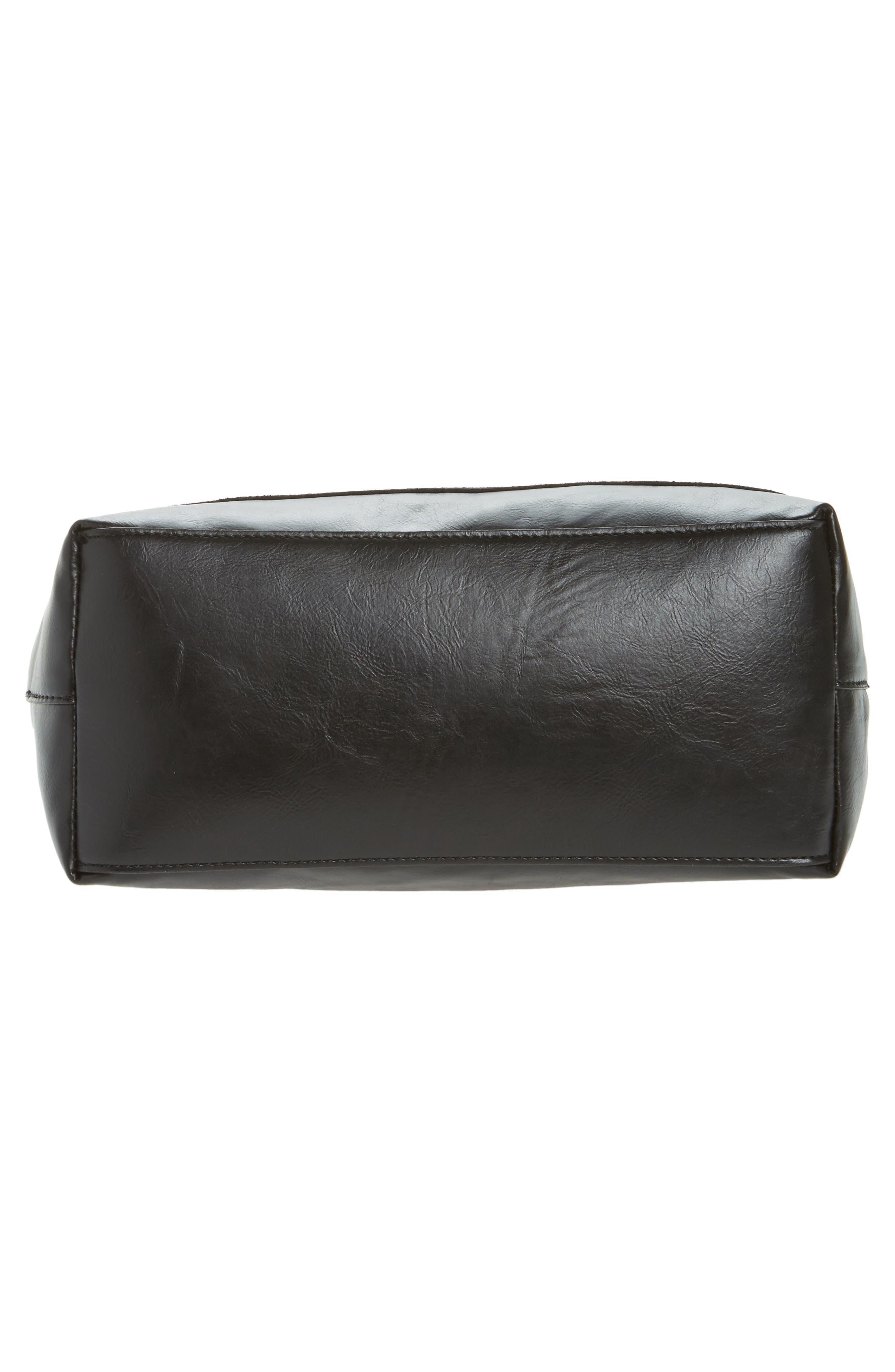 Trish Faux Leather Tote,                             Alternate thumbnail 6, color,                             Black