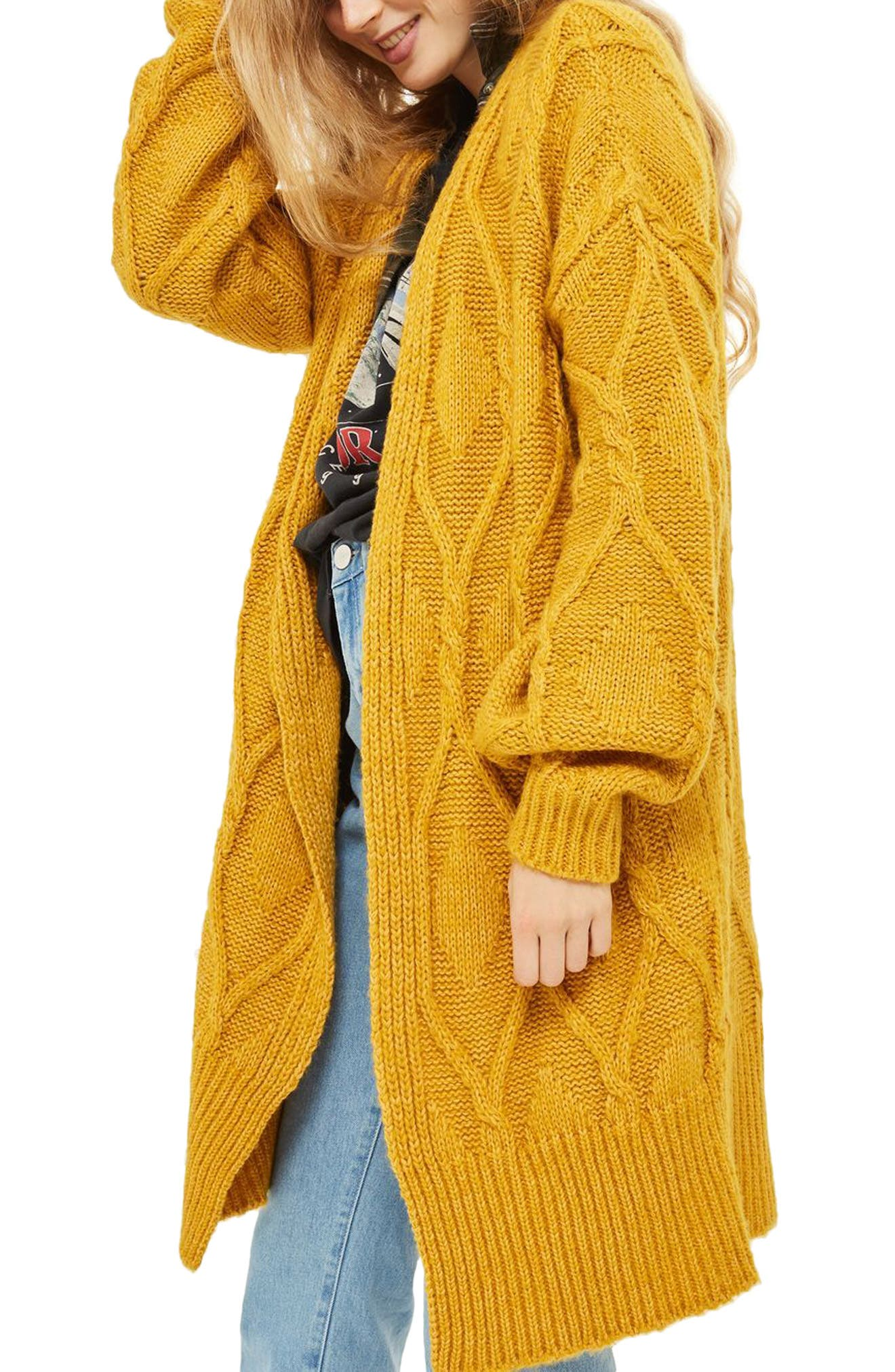 Longline Cable Cardigan,                         Main,                         color, Mustard