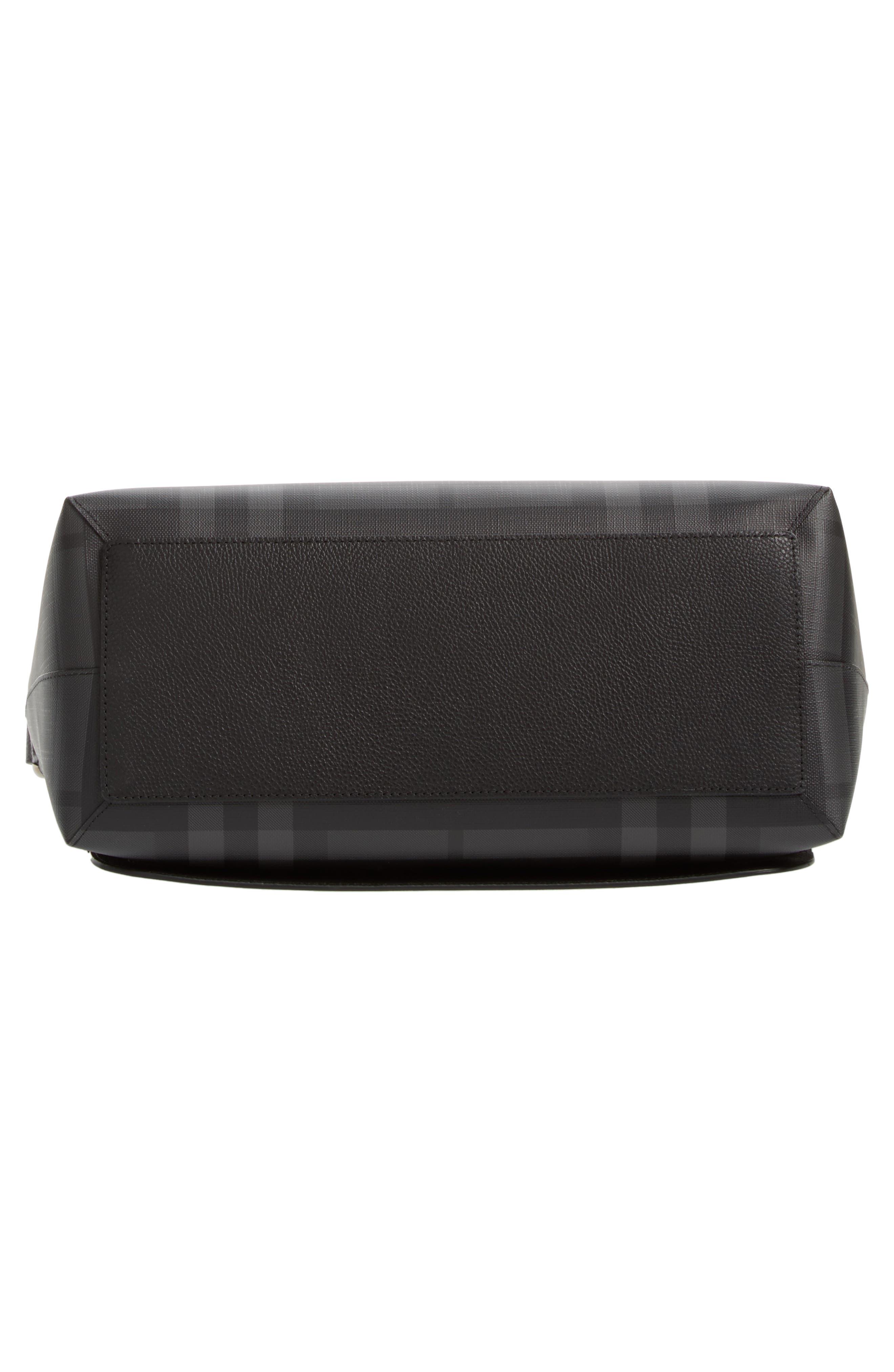 London Check Messenger Bag,                             Alternate thumbnail 6, color,                             Charcoal/ Black