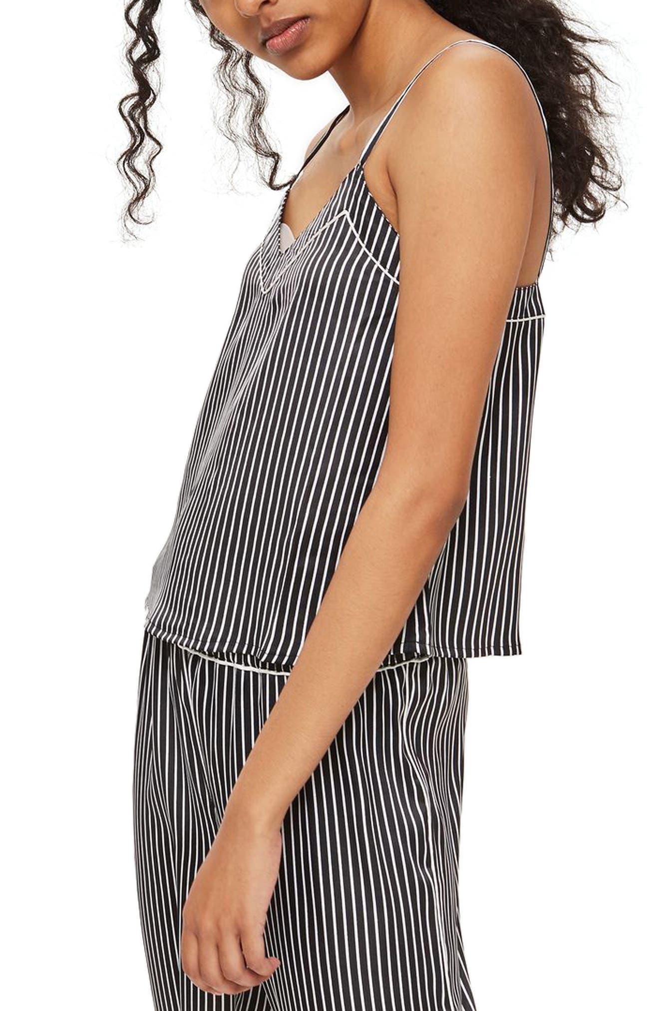 Main Image - Topshop Stripe Satin Camisole Pajama Top