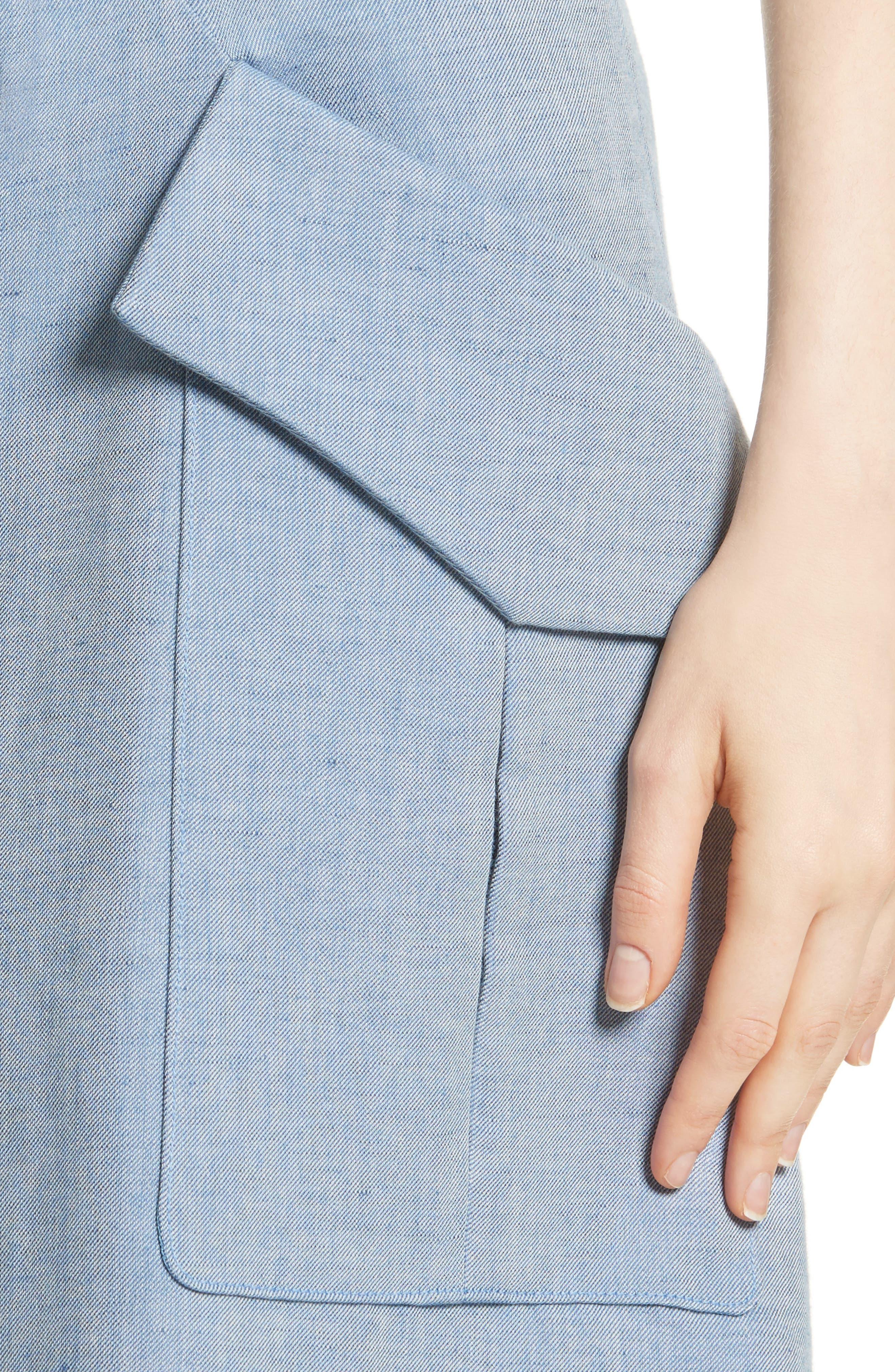 Jupe Genou Skirt,                             Alternate thumbnail 4, color,                             Bleu Acier