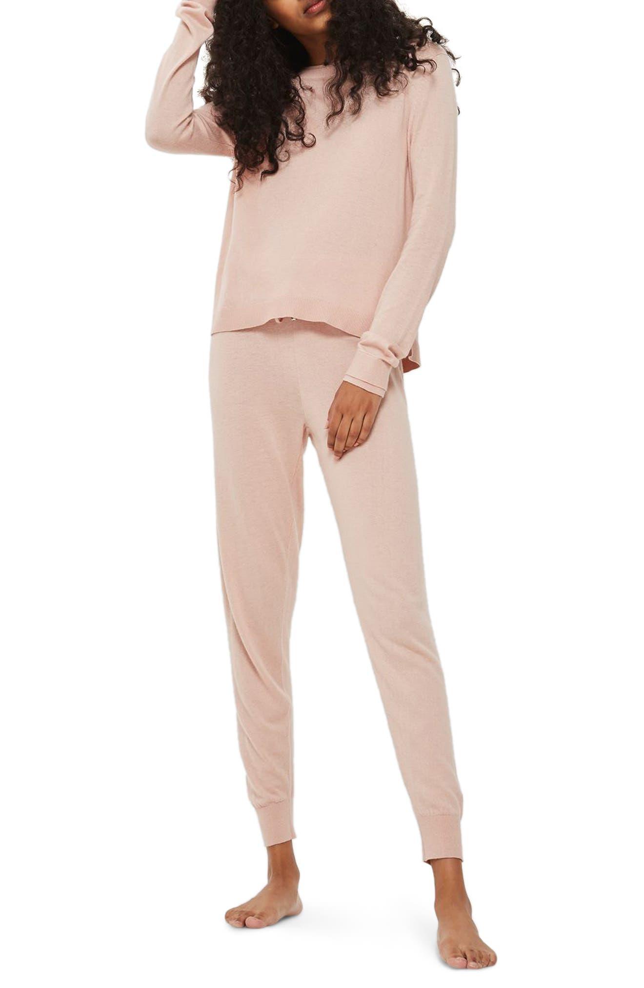 Main Image - Topshop Crewneck Knit Pajama Top