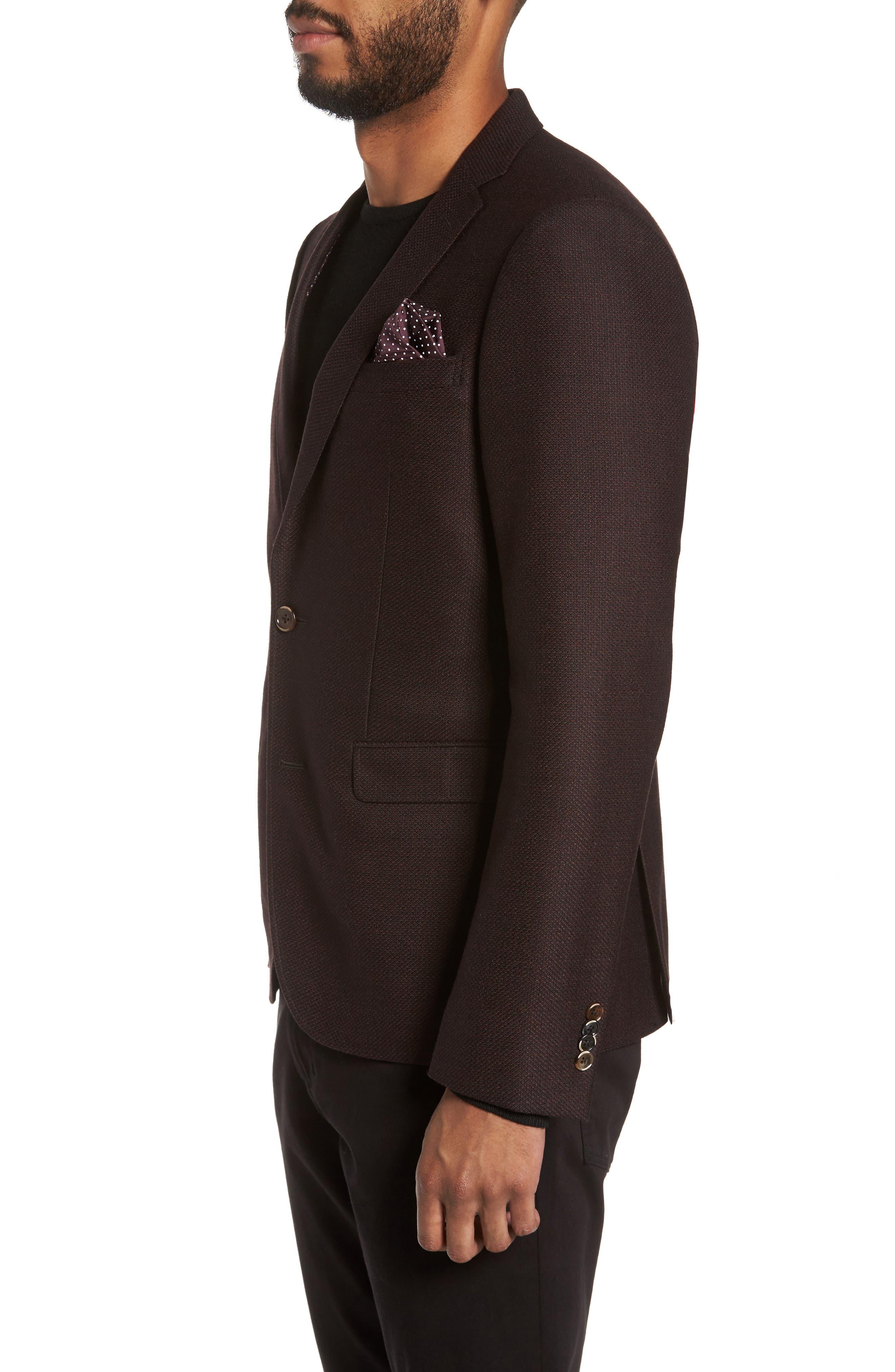 Trim Fit Wool Sport Coat,                             Alternate thumbnail 3, color,                             Bordeaux
