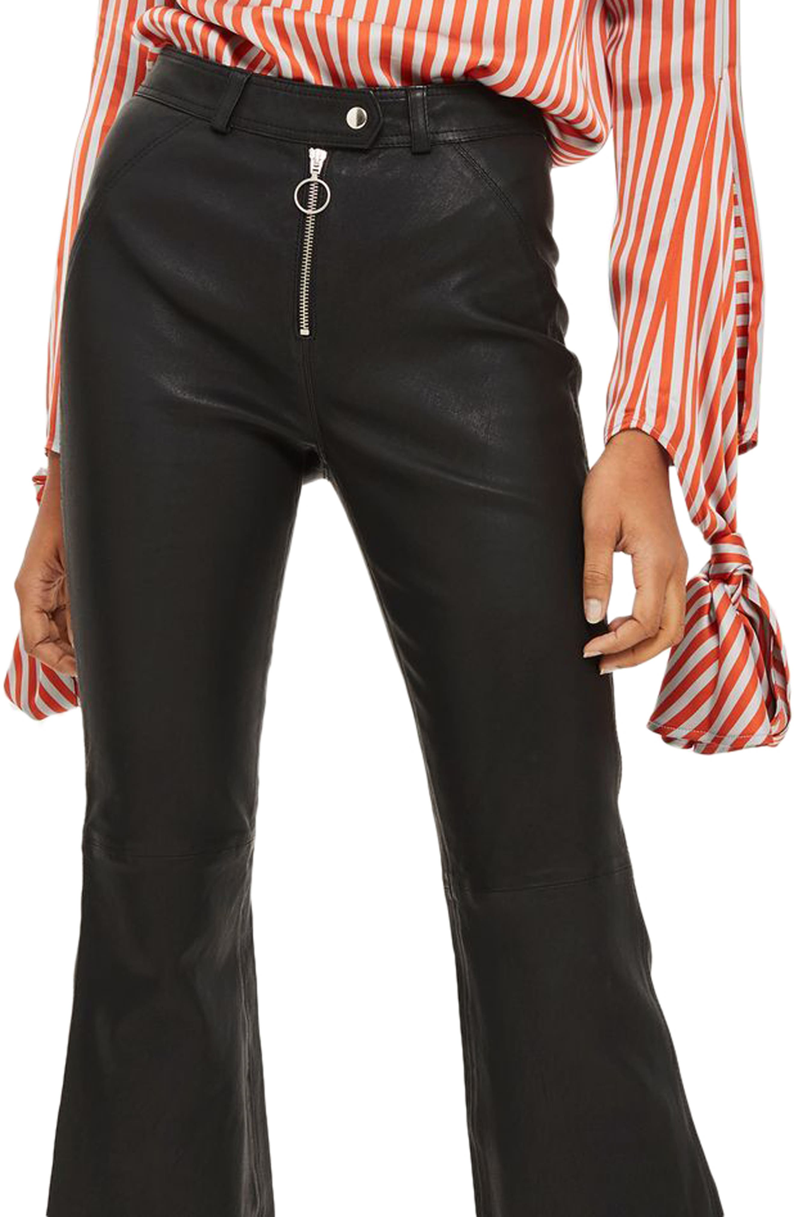 Premium Kick Flare Crop Leather Pants,                             Alternate thumbnail 4, color,                             Black