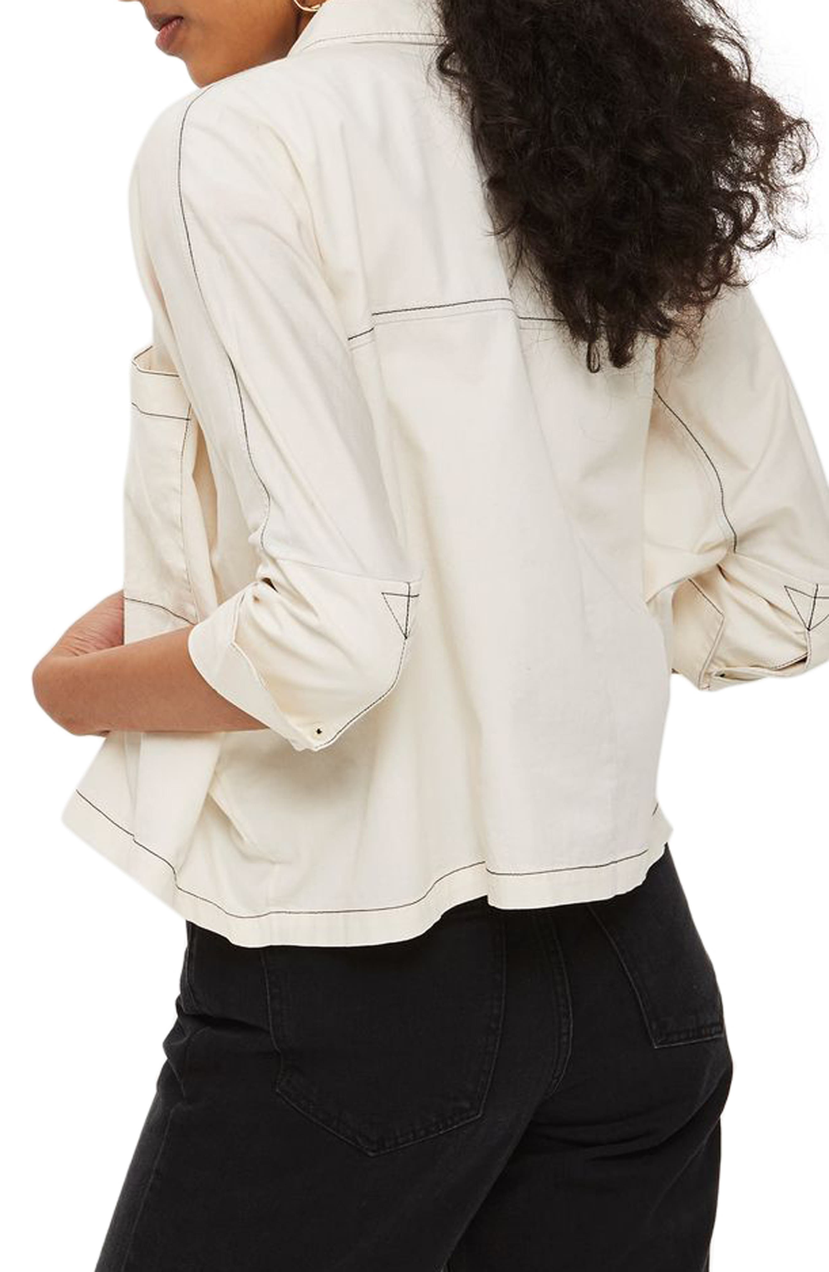 Contrast Stitch Boxy Shirt,                             Alternate thumbnail 2, color,                             Cream Multi