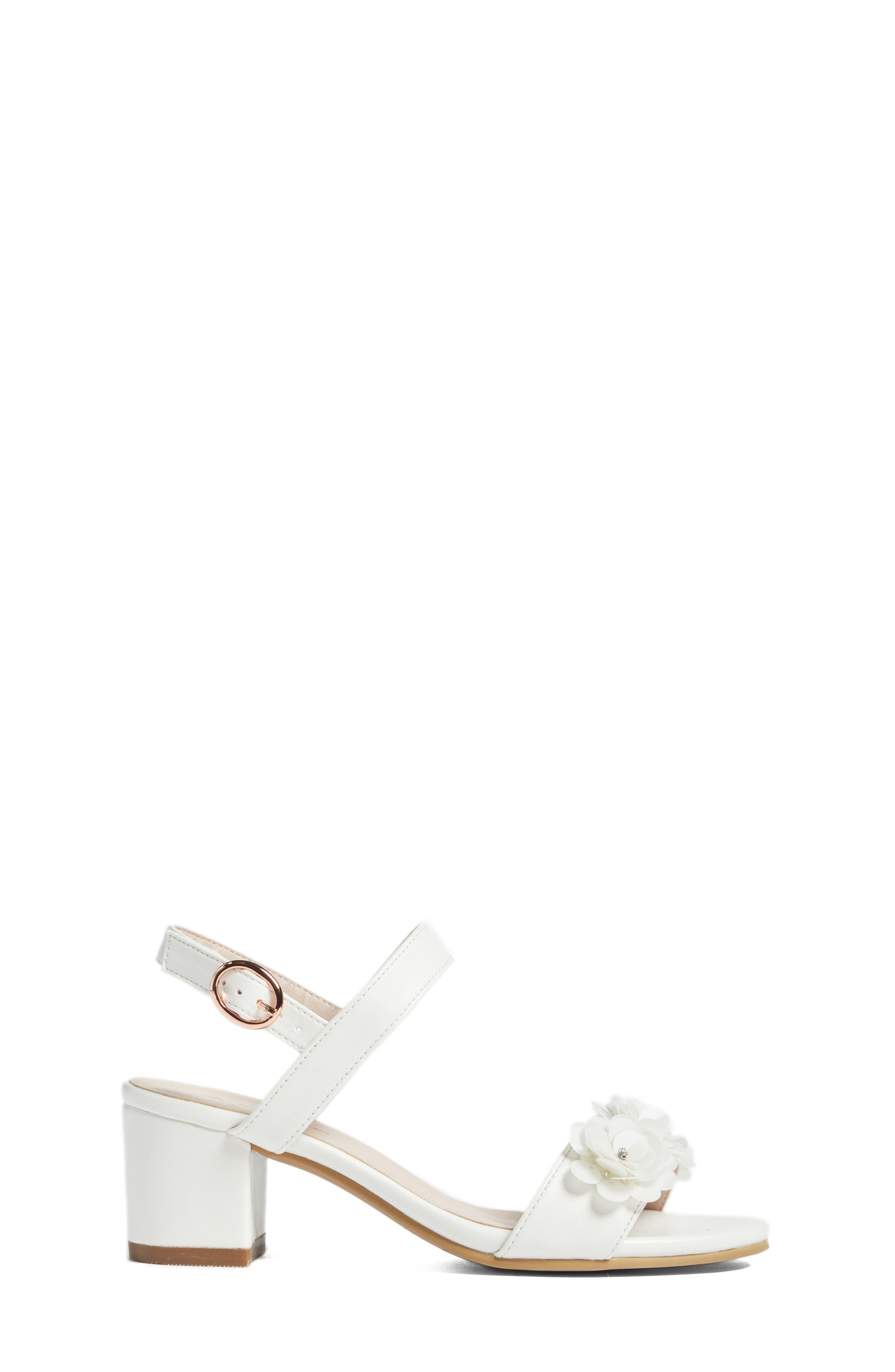 Dina Flowered Sandal,                             Alternate thumbnail 3, color,                             White Faux Leather
