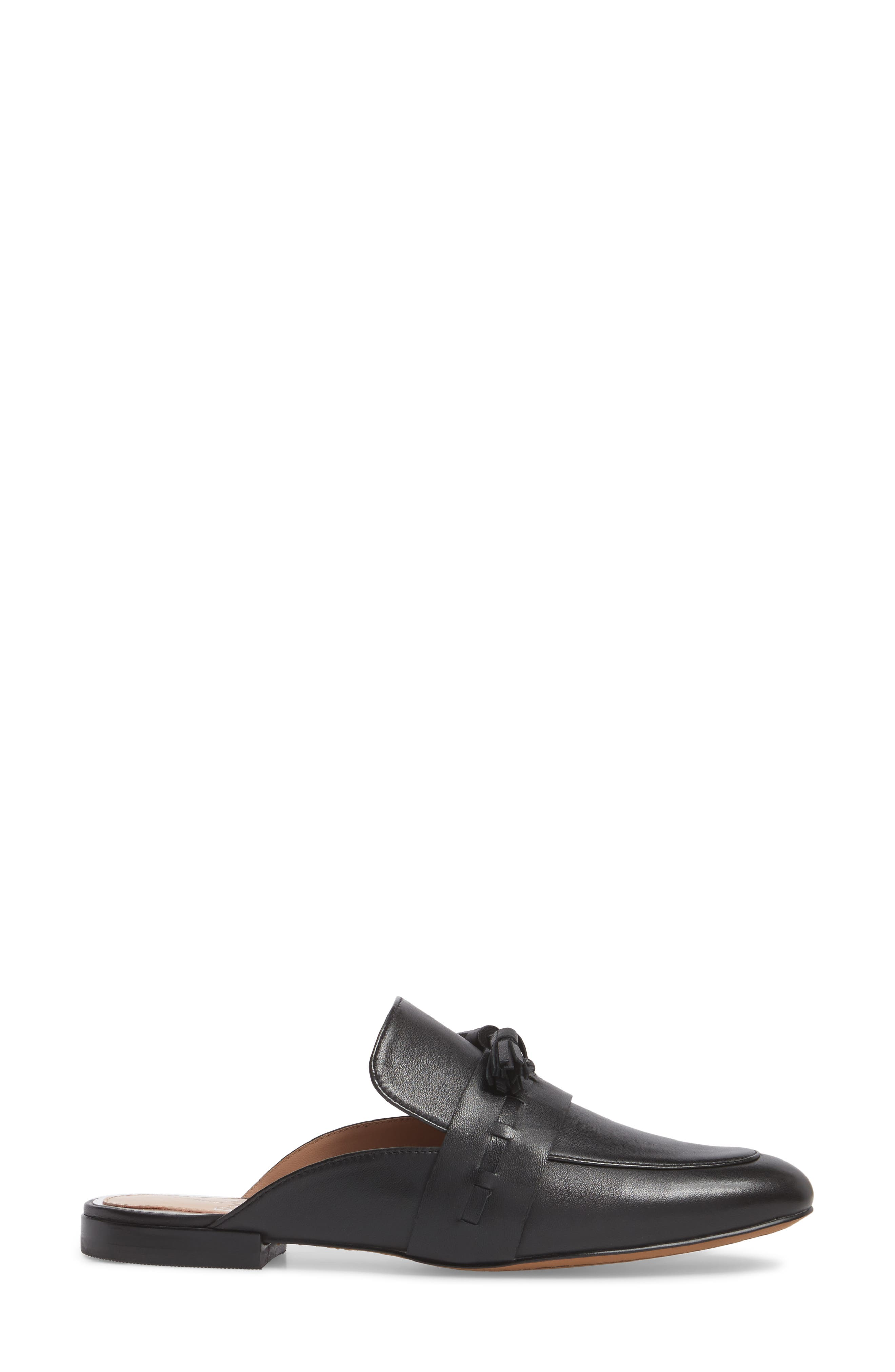 Abbot Tassel Mule,                             Alternate thumbnail 3, color,                             Black Leather