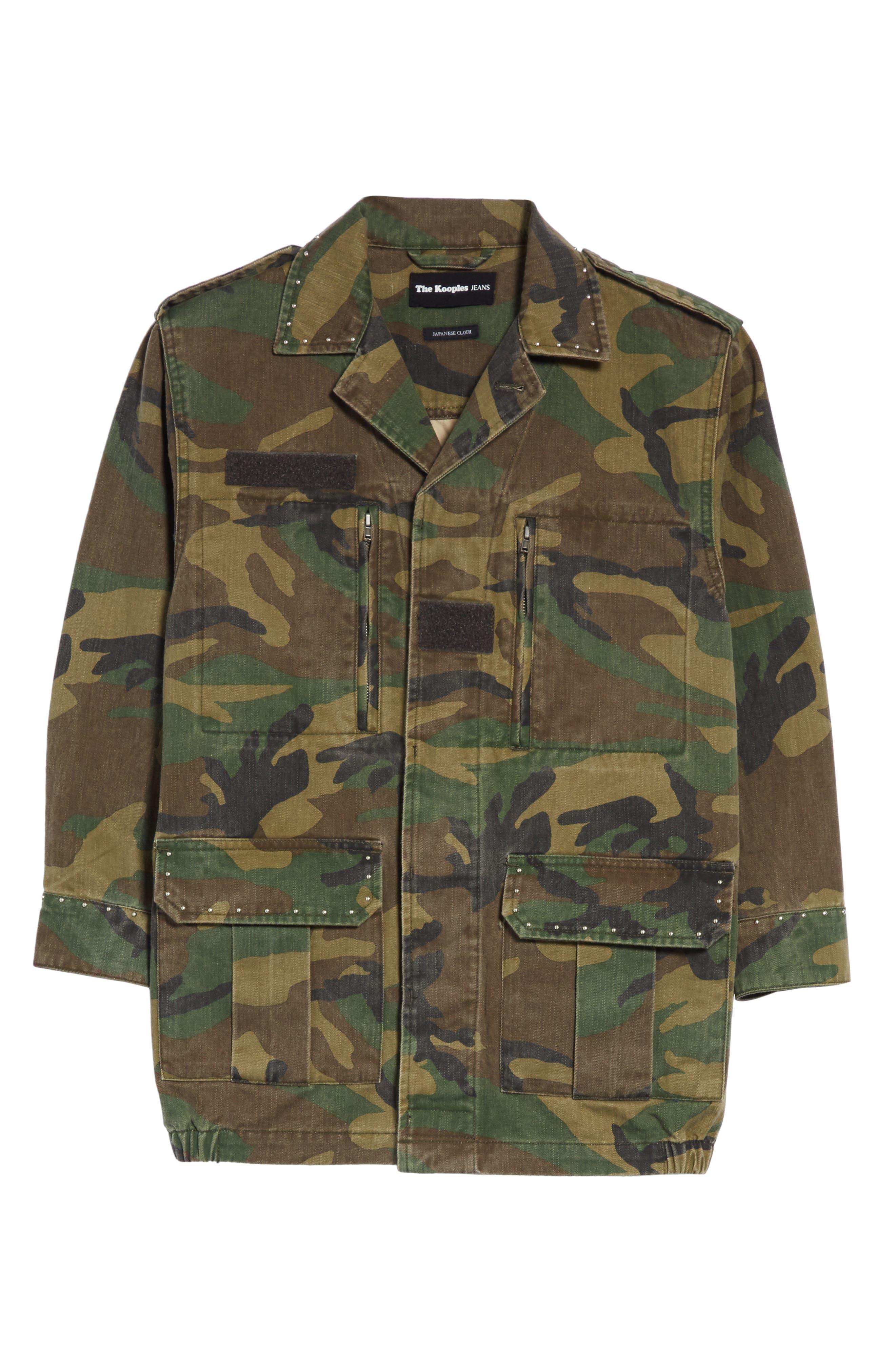 Studded Camouflage Jacket,                             Alternate thumbnail 6, color,                             Khaki