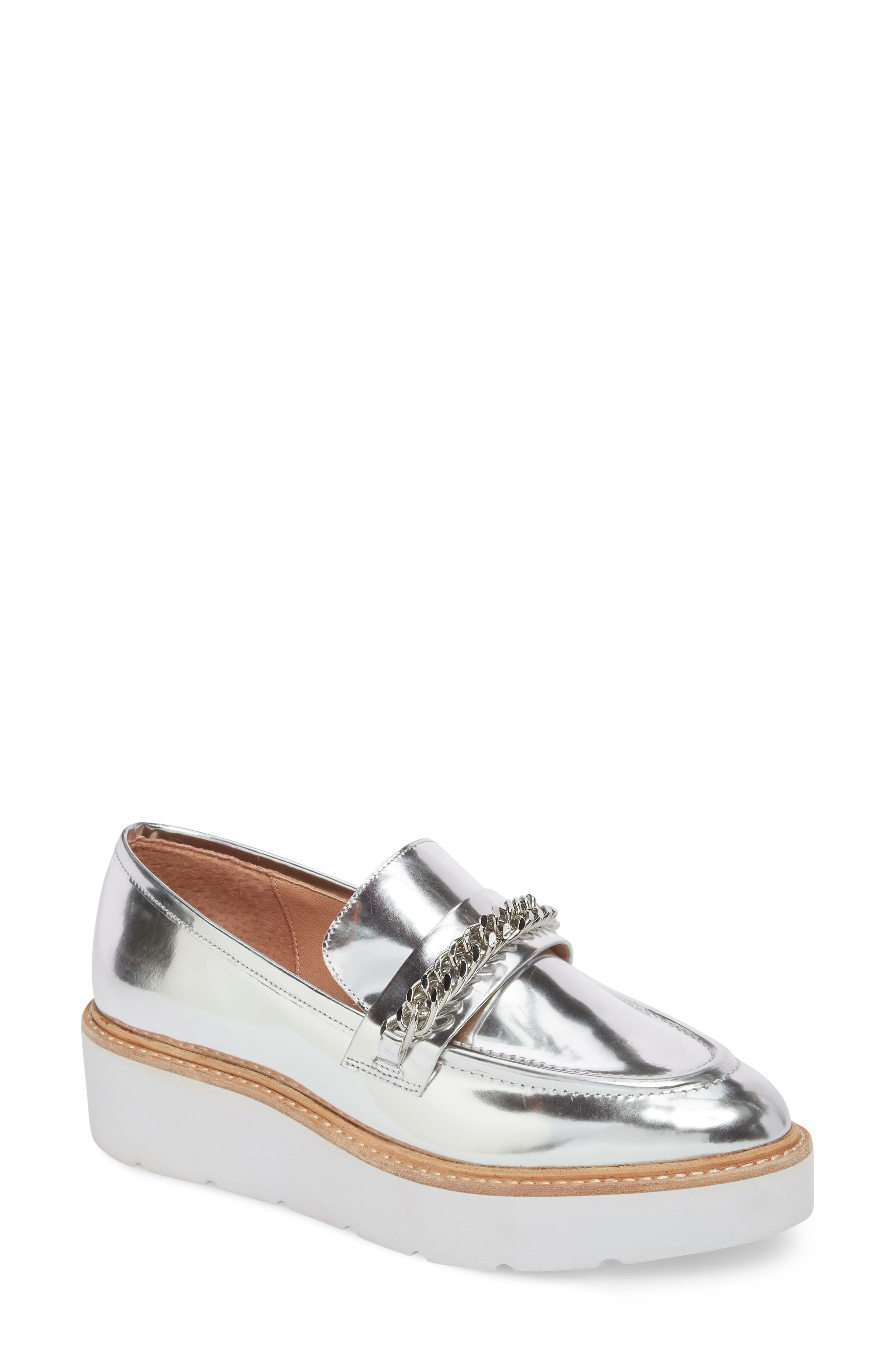 Jacki Platform Loafer,                             Main thumbnail 1, color,                             Silver Leather