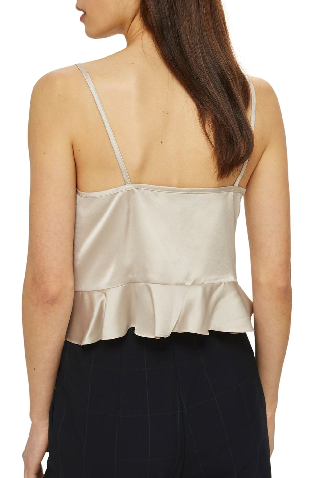 Ruby Ruched Satin Camisole Top,                             Alternate thumbnail 2, color,                             Cream