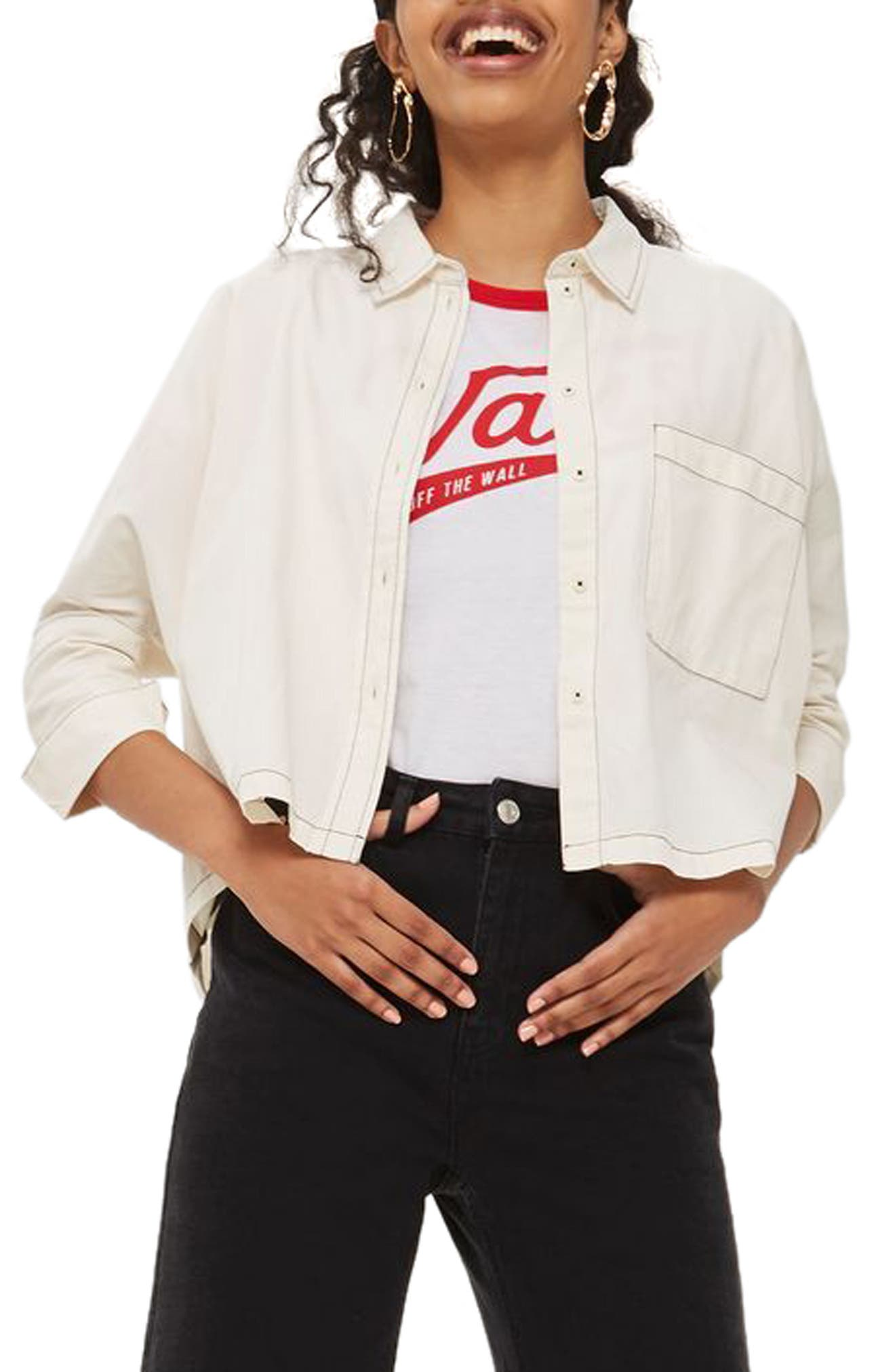 Contrast Stitch Boxy Shirt,                             Alternate thumbnail 3, color,                             Cream Multi