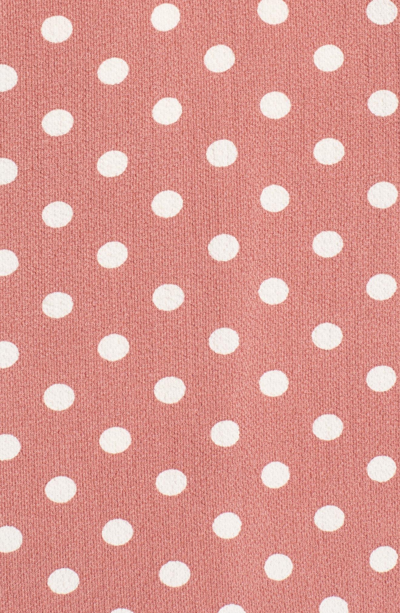 Polka Dot Cold Shoulder Top,                             Alternate thumbnail 5, color,                             Pink Polka Dot