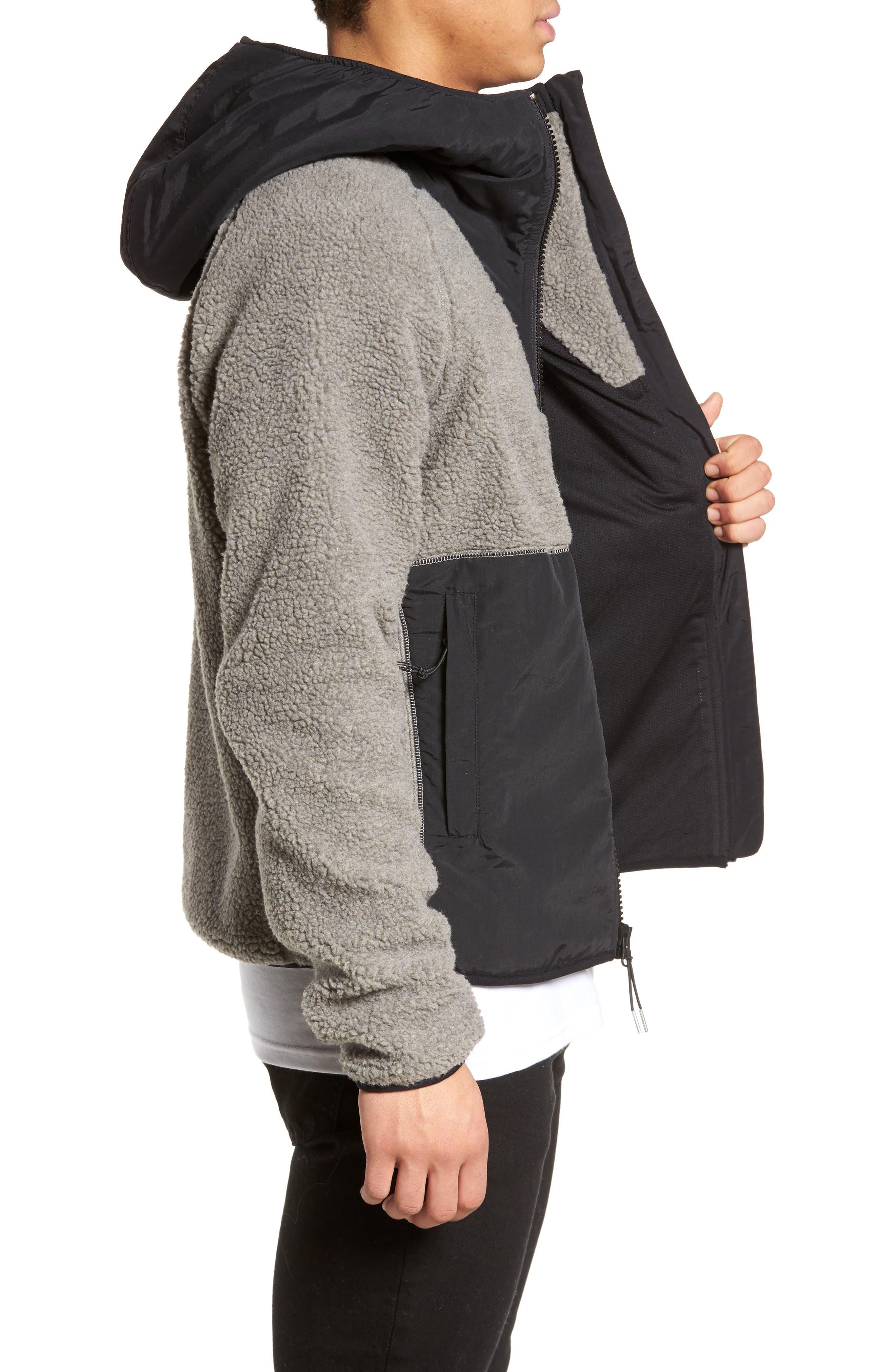 Vaughn Hooded Fleece Jacket,                             Alternate thumbnail 3, color,                             Grey