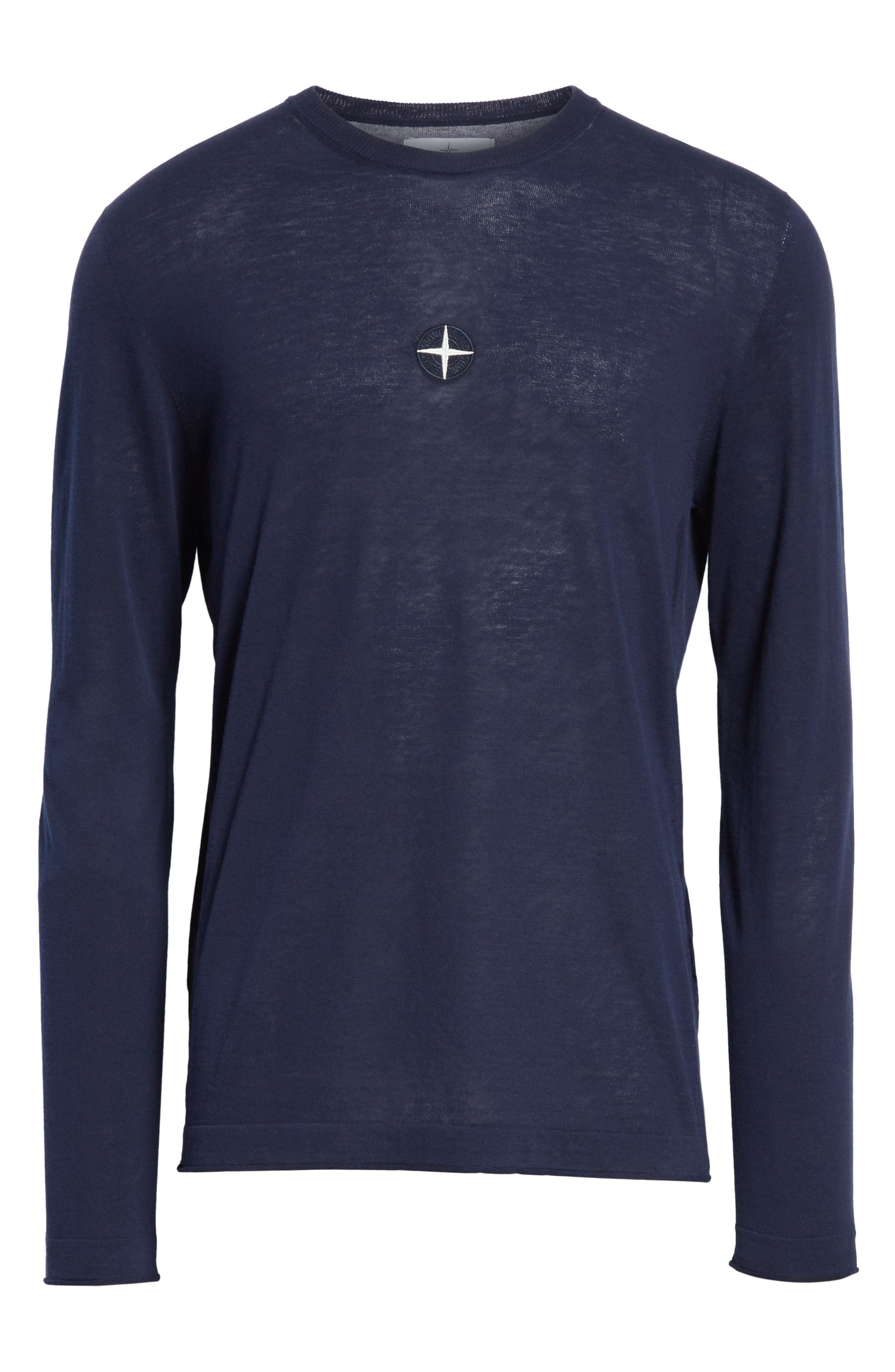 Embroidered Crest Sweater,                             Alternate thumbnail 6, color,                             Blue