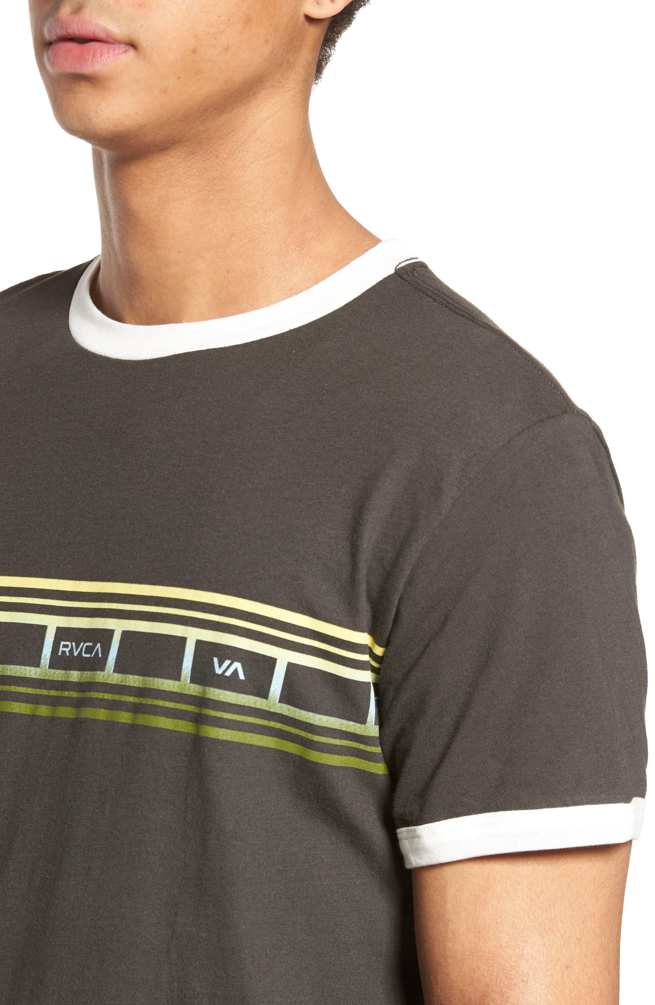 Fade Stripe Ringer T-Shirt,                             Alternate thumbnail 4, color,                             Pirate Black