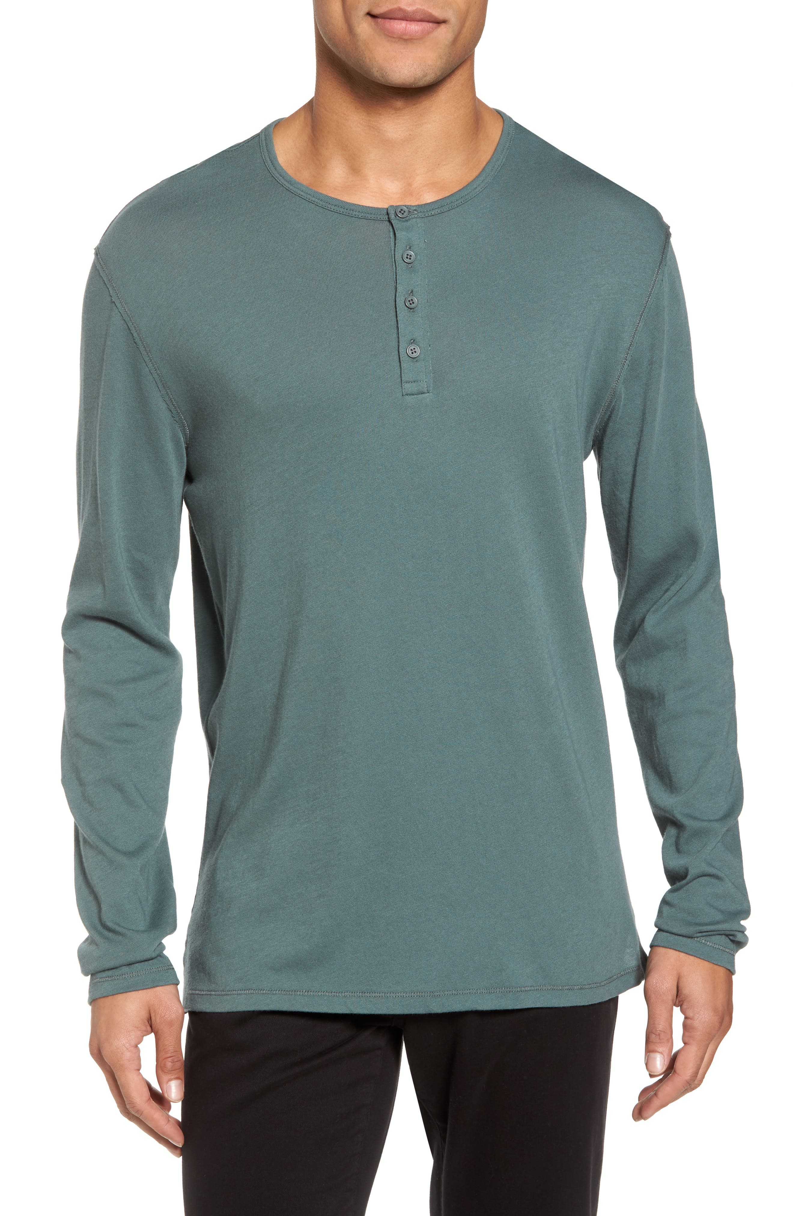 Raw Edge Long Sleeve Henley T-Shirt,                         Main,                         color, Cilantro