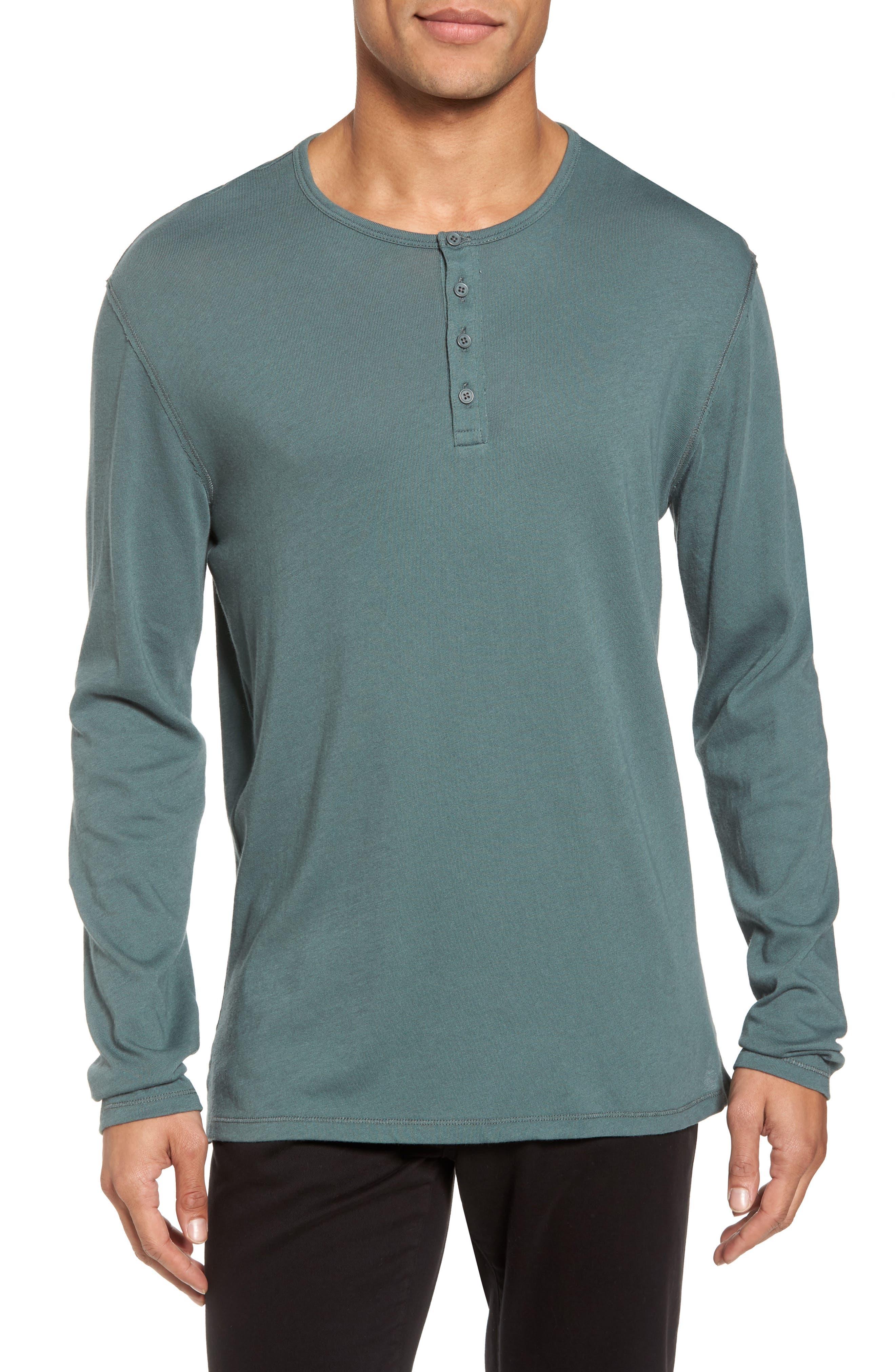 Raw Edge Long Sleeve Henley T-Shirt,                         Main,                         color, Cilantro