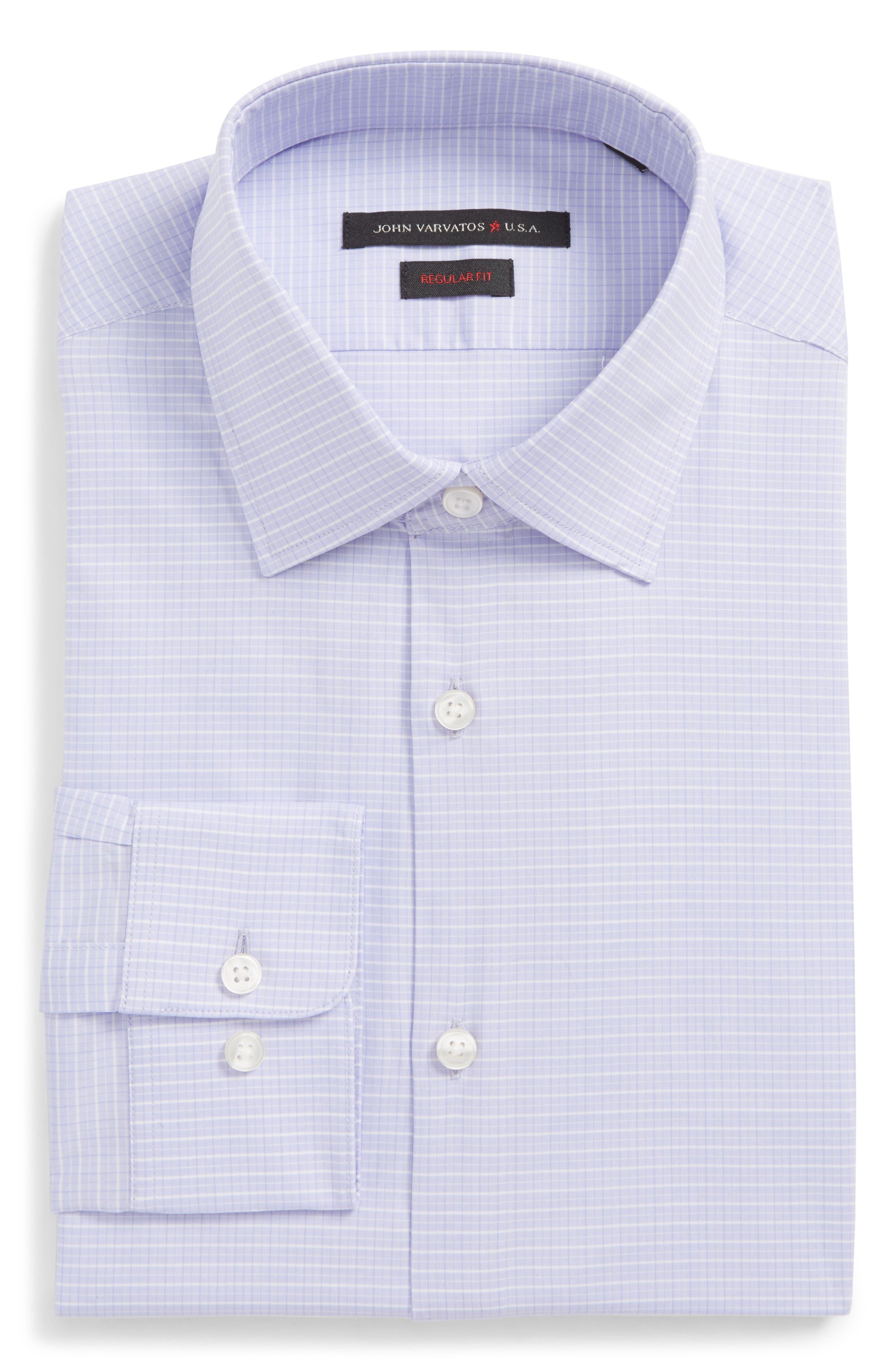 Regular Fit Stretch Check Dress Shirt,                             Main thumbnail 1, color,                             Thistle