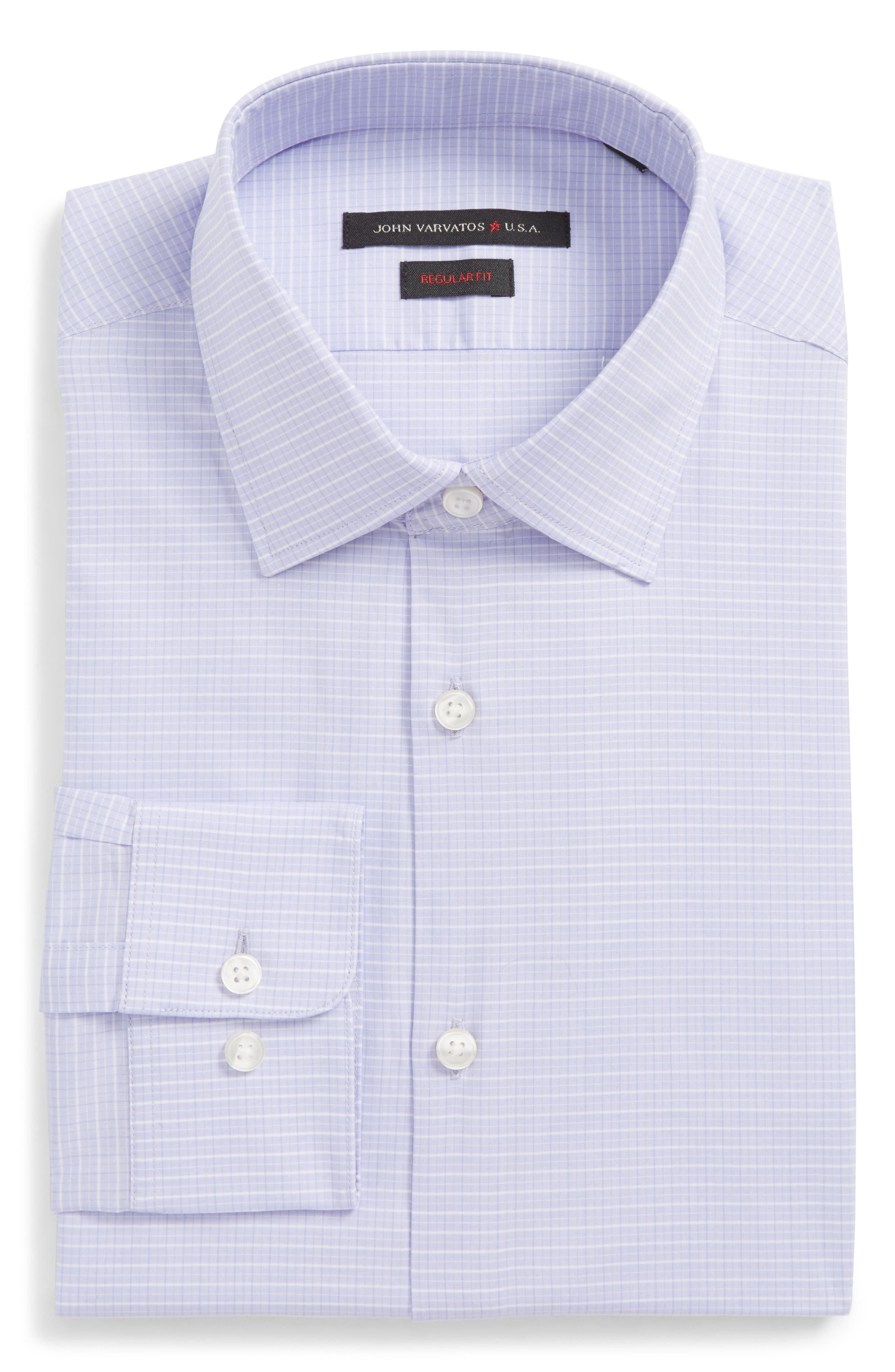 Regular Fit Stretch Check Dress Shirt,                         Main,                         color, Thistle