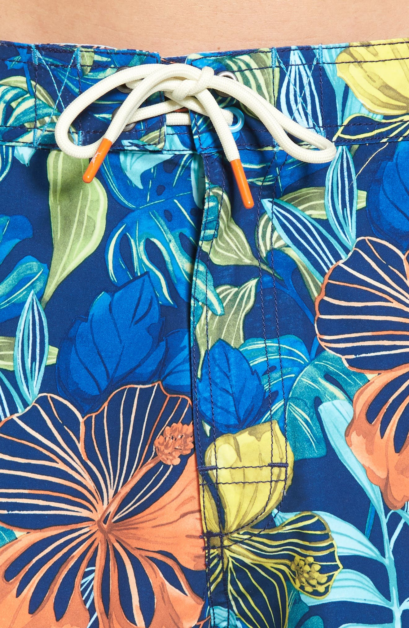 Baja Hibiscus Beach Swim Trunks,                             Alternate thumbnail 4, color,                             Kingdom Blue