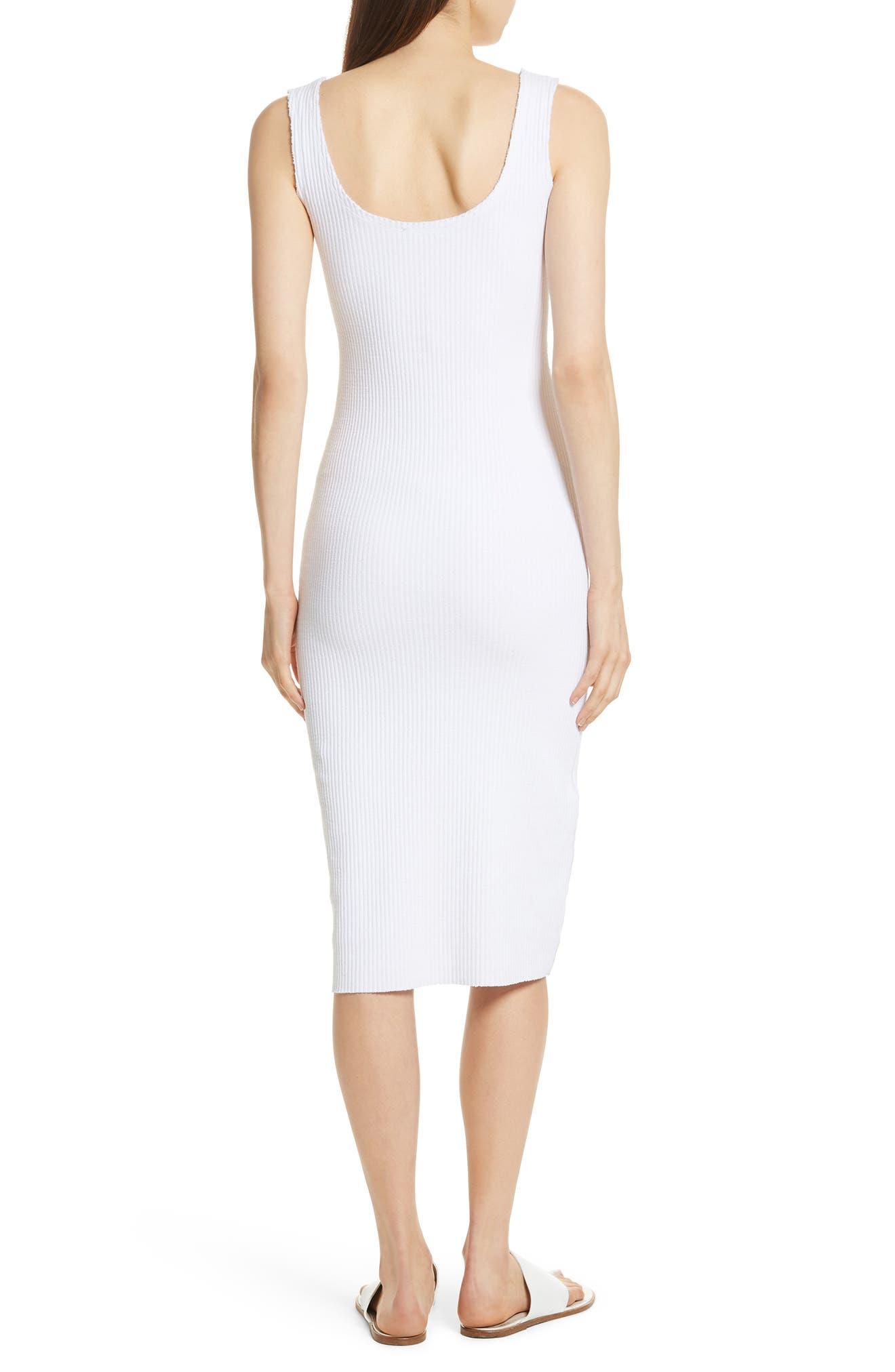 Ribbed Tank Dress,                             Alternate thumbnail 2, color,                             Optic White