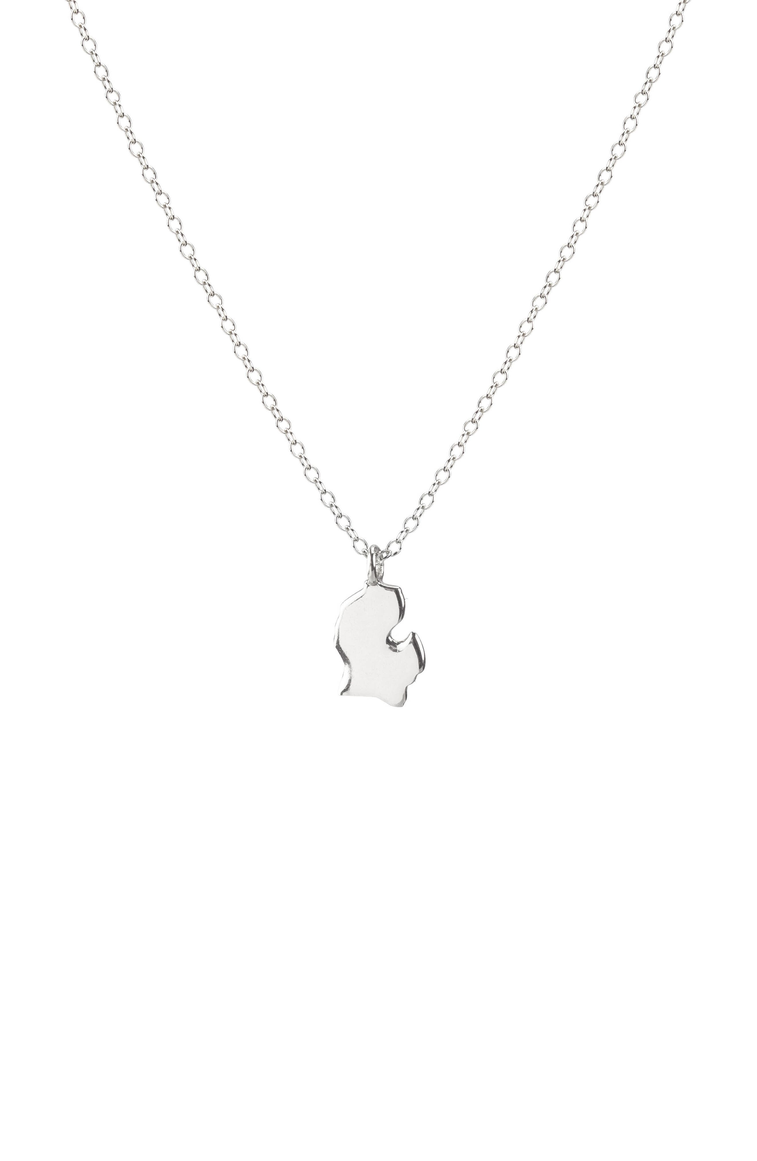 Solid State Charm Necklace,                         Main,                         color, Michigan - Silver