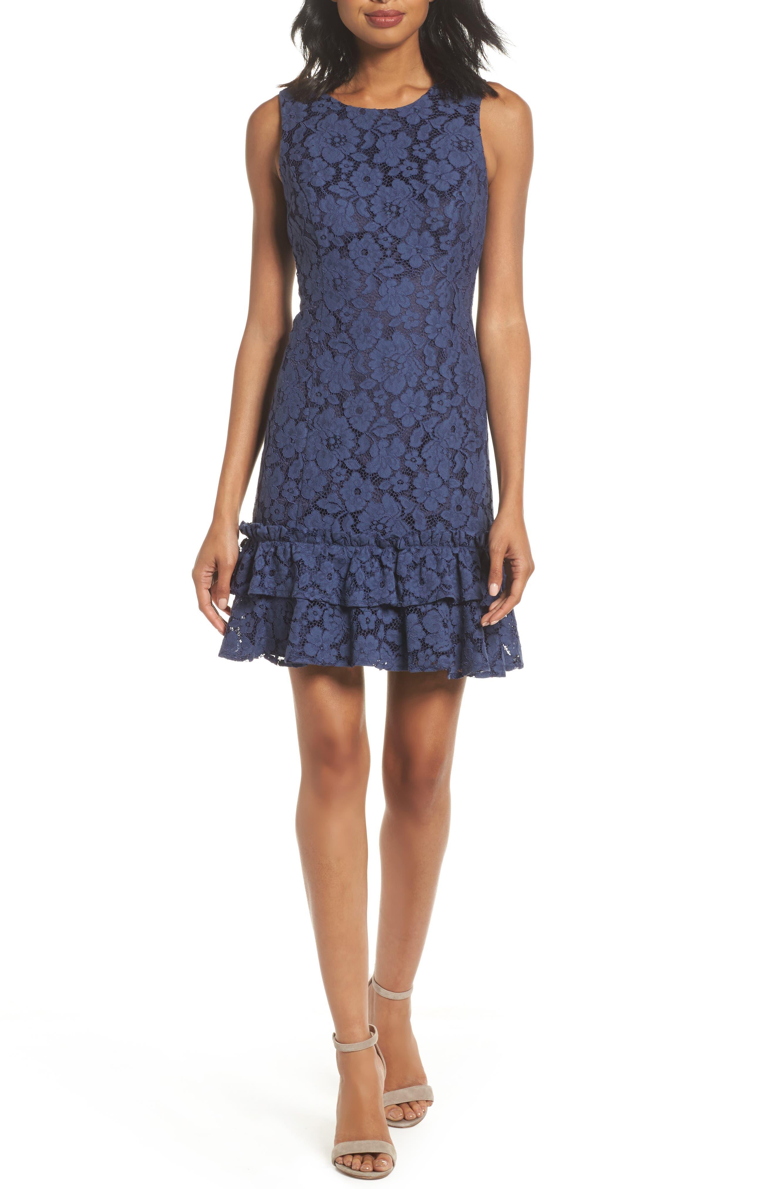 Main Image - Eliza J Ruffle Lace Sheath Dress