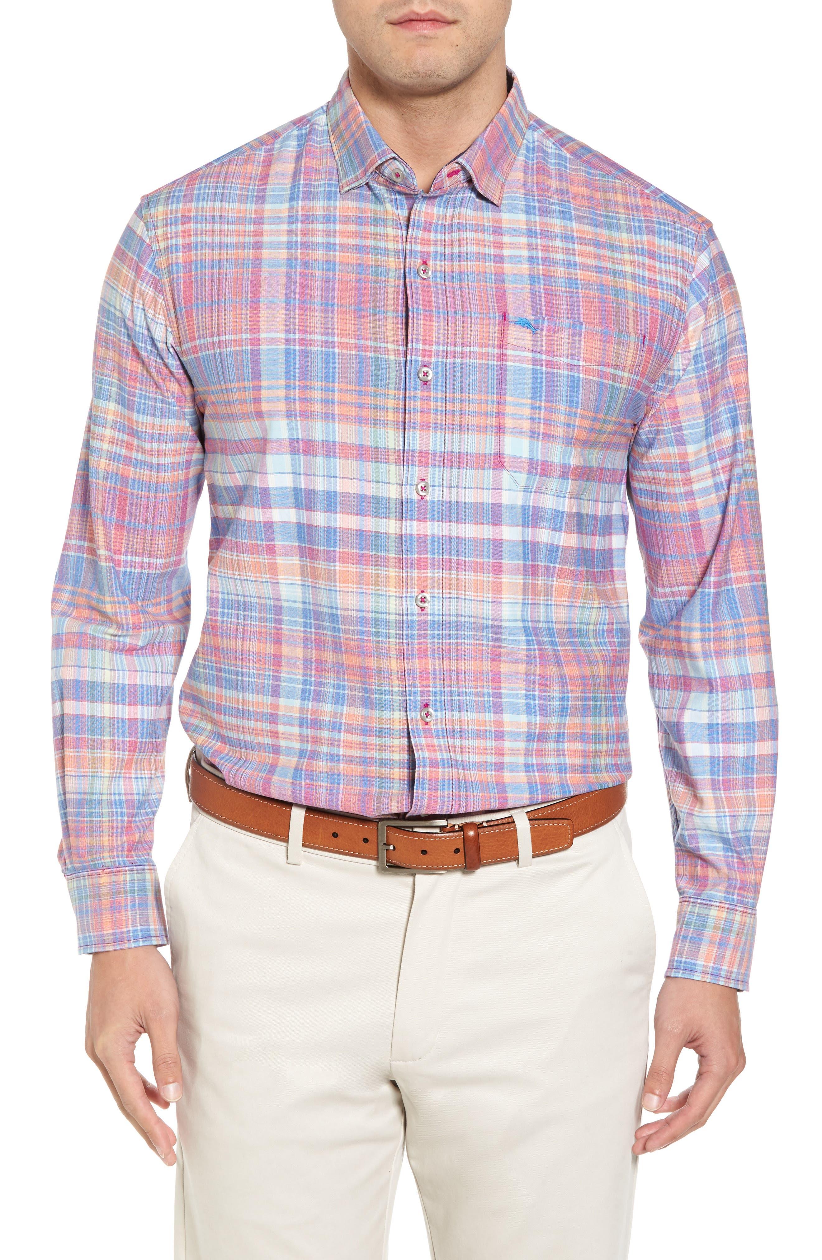 Mangrove Madras Plaid Sport Shirt,                             Main thumbnail 1, color,                             Virtual Pink