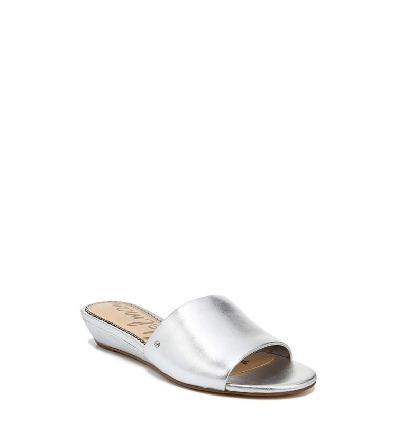 Liliana Slide Sandal,                         Main,                         color, Silver Leather