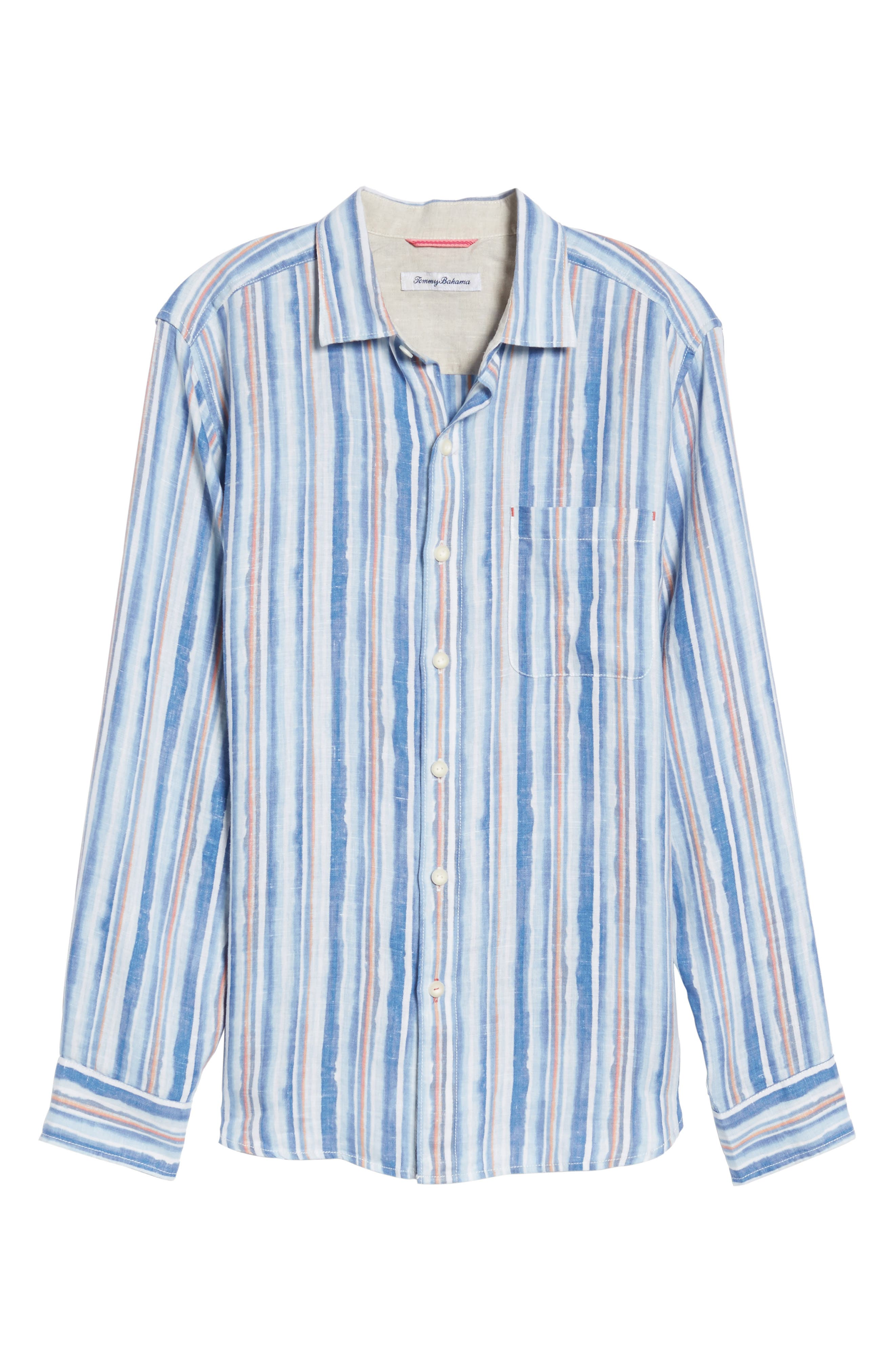 Watercrest Stripe Linen Sport Shirt,                             Alternate thumbnail 6, color,                             Cobalt Sea