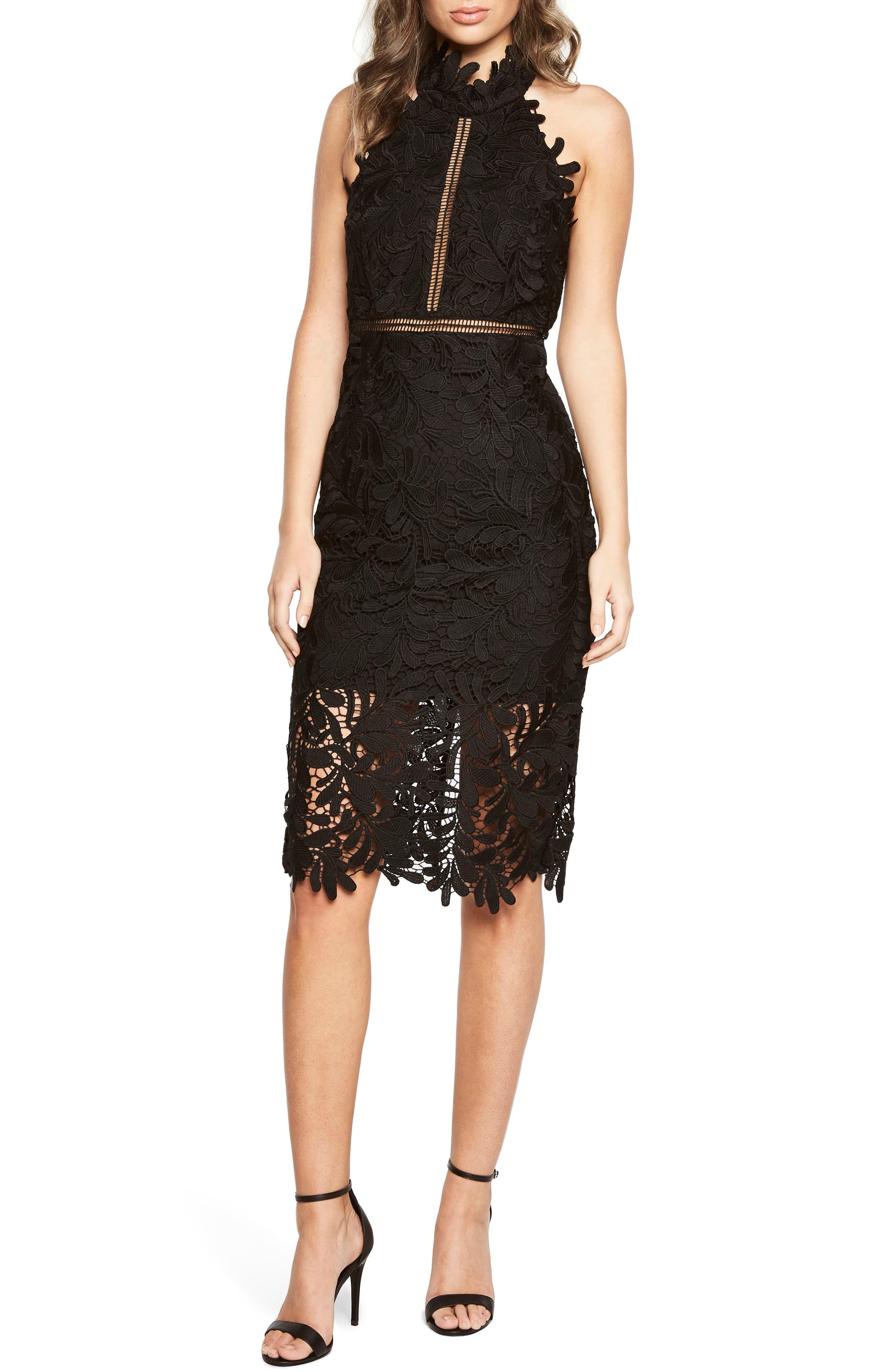 Kara Lace Halter Dress,                         Main,                         color, Black