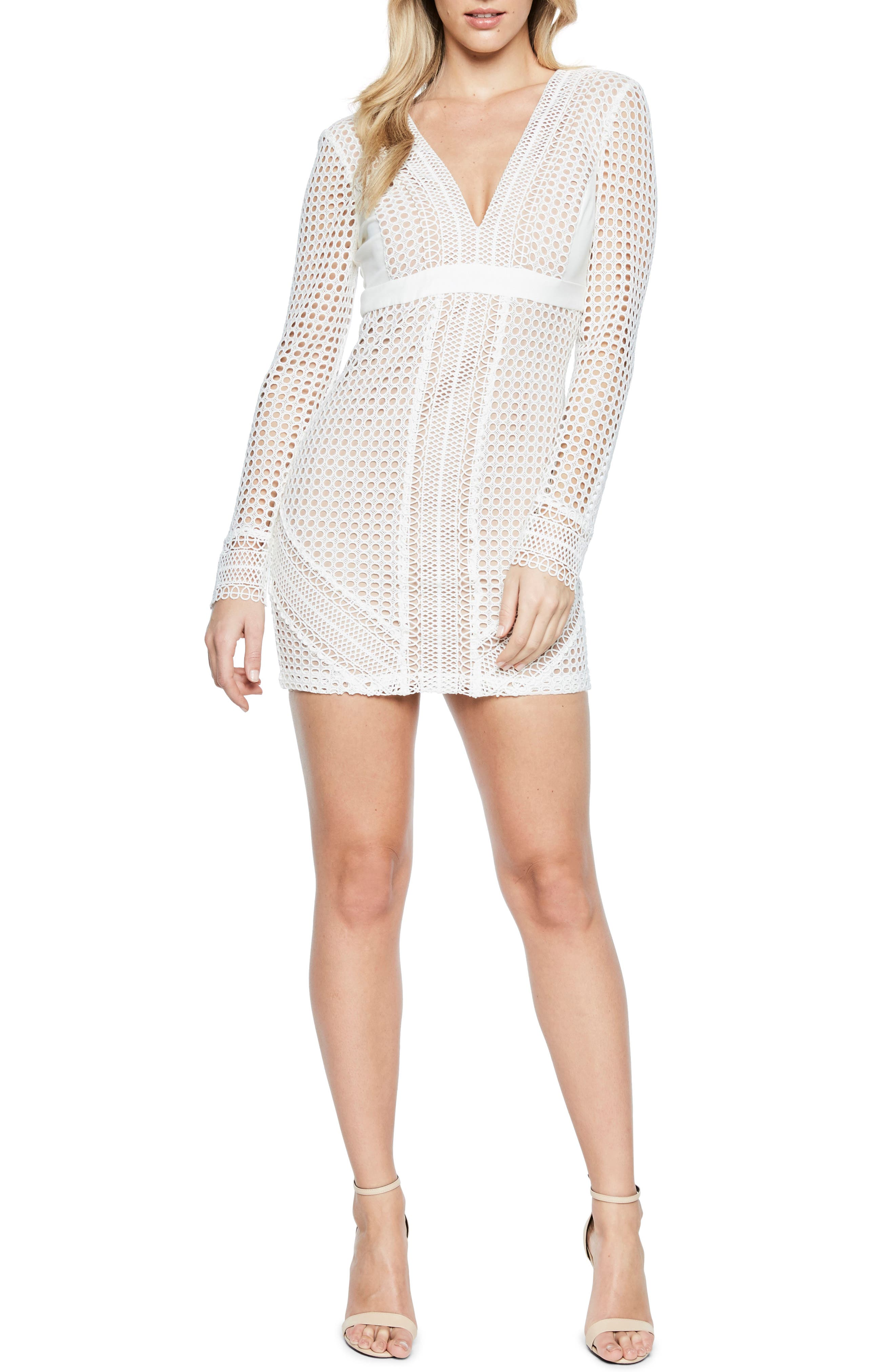 Clio Crochet Body-Con Dress,                         Main,                         color, Ivory