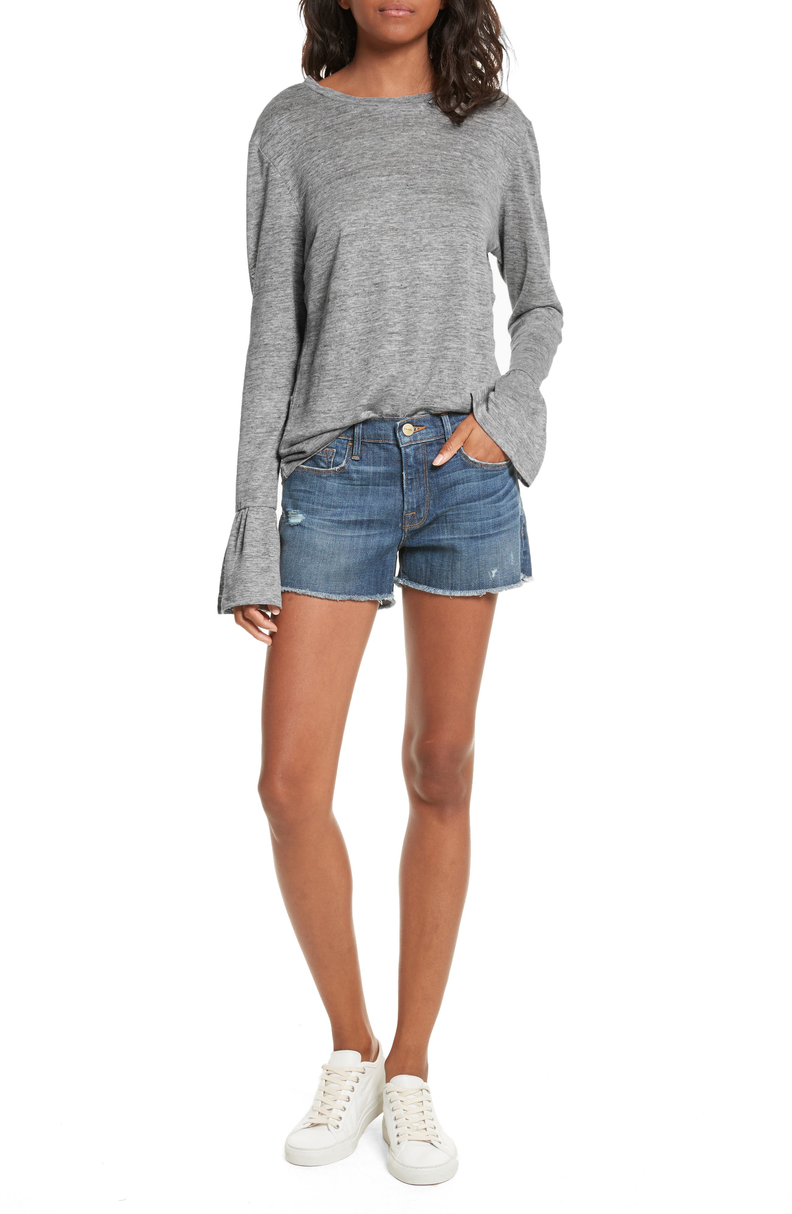 Le Cutoff Denim Shorts,                             Alternate thumbnail 2, color,                             Eckford
