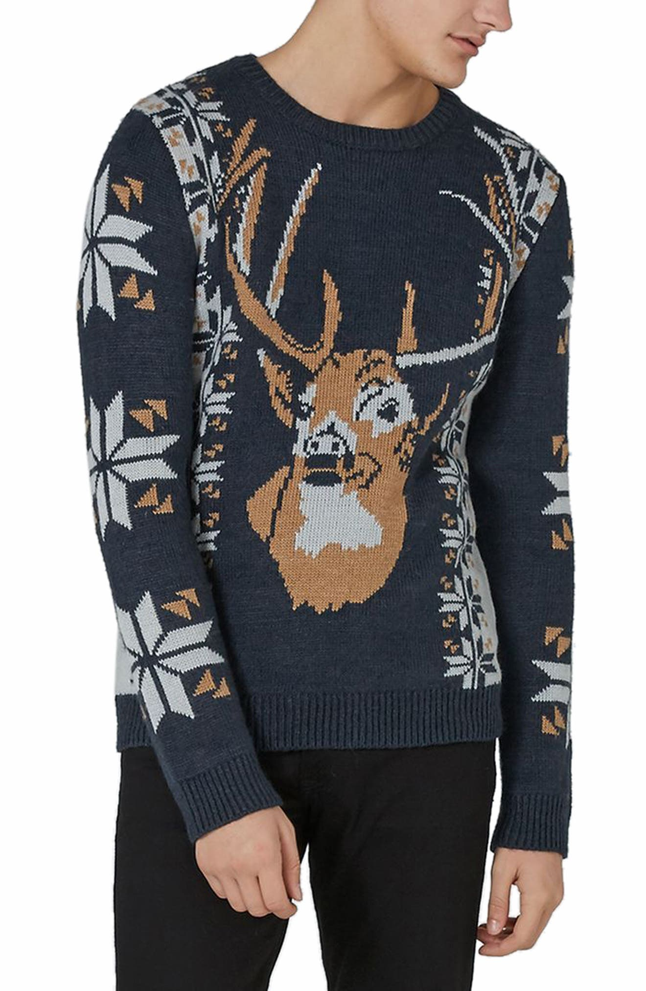 Vintage Stag Sweater,                         Main,                         color, Navy Blue Multi