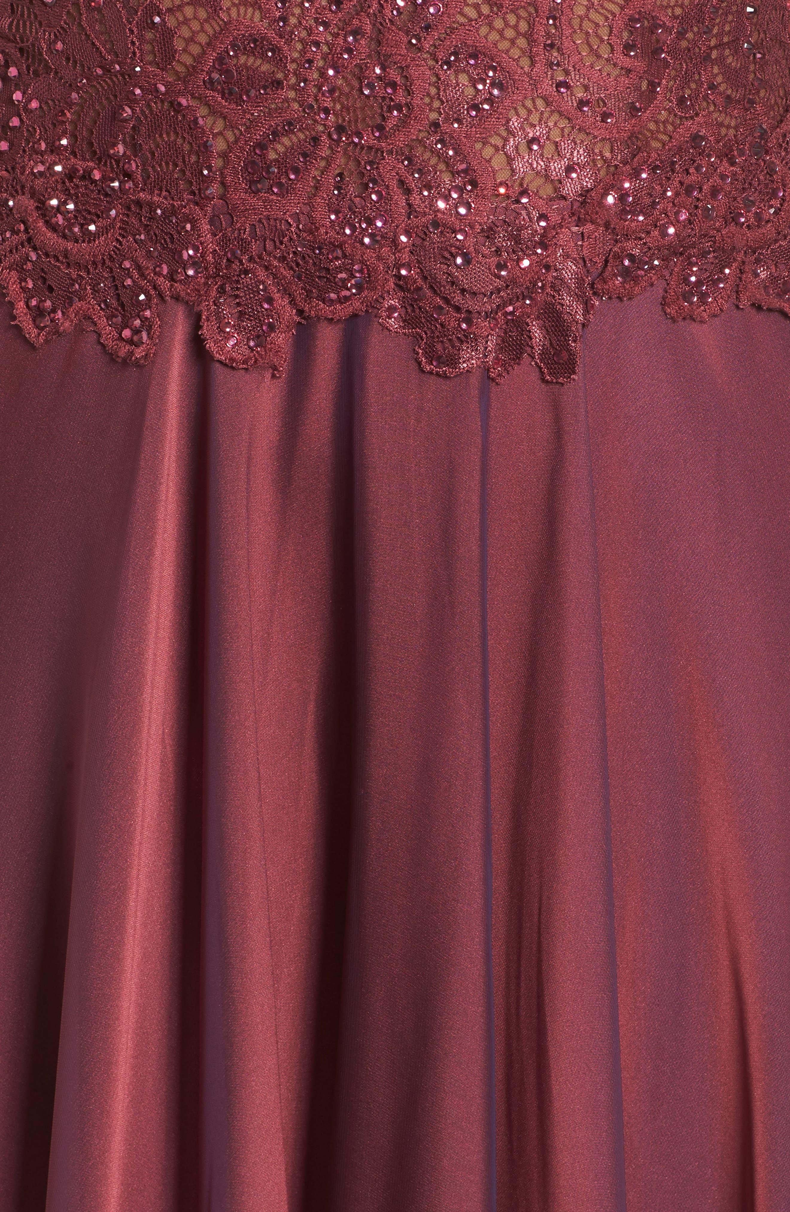 Alternate Image 5  - La Femme Lace & Chiffon A-Line Gown