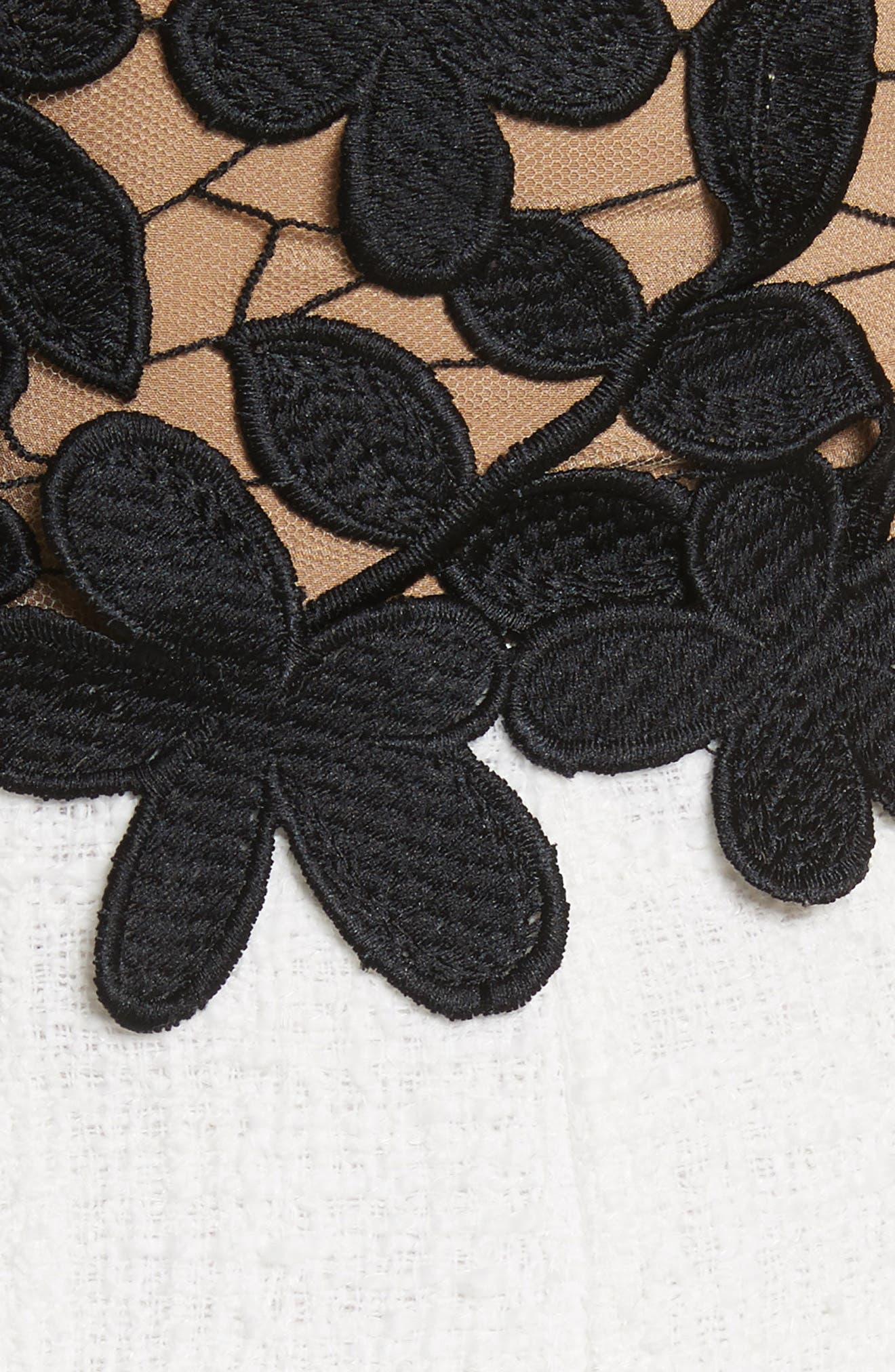 Lace Bodice Sheath Dress,                             Alternate thumbnail 6, color,                             Black/ White