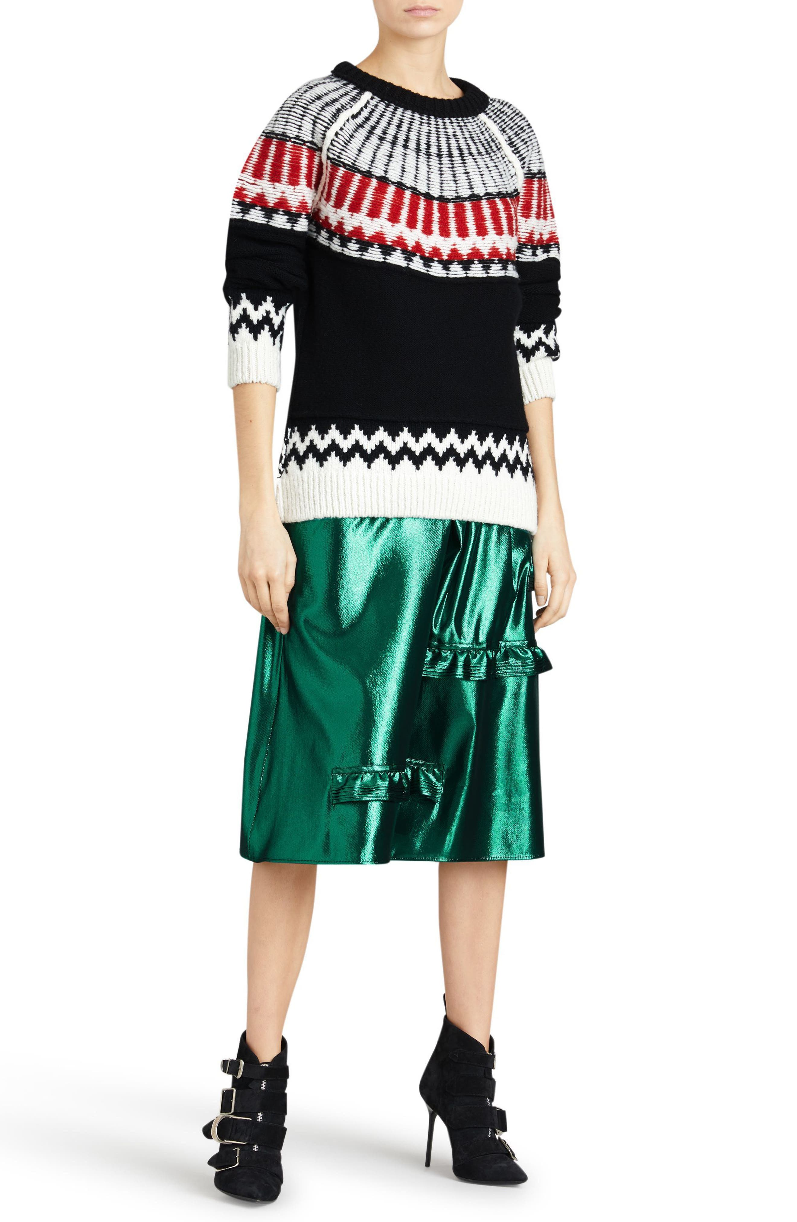 Trycroft Fair Isle Wool Blend Sweater,                             Alternate thumbnail 4, color,                             Black/ Military Red