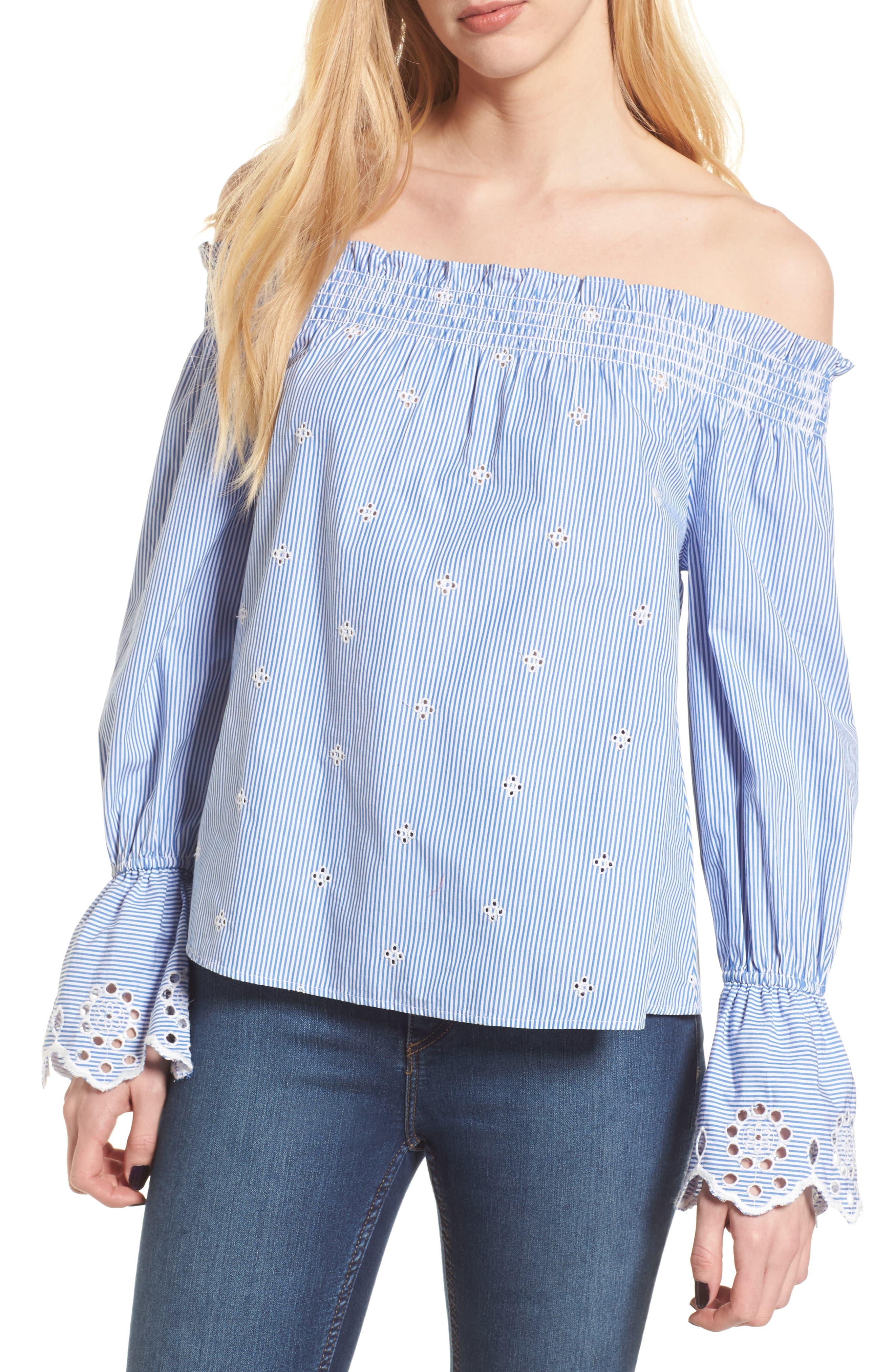 Off the Shoulder Schiffli Smocked Stripe Top,                         Main,                         color, Blue Mazzarine Tawny Stripe