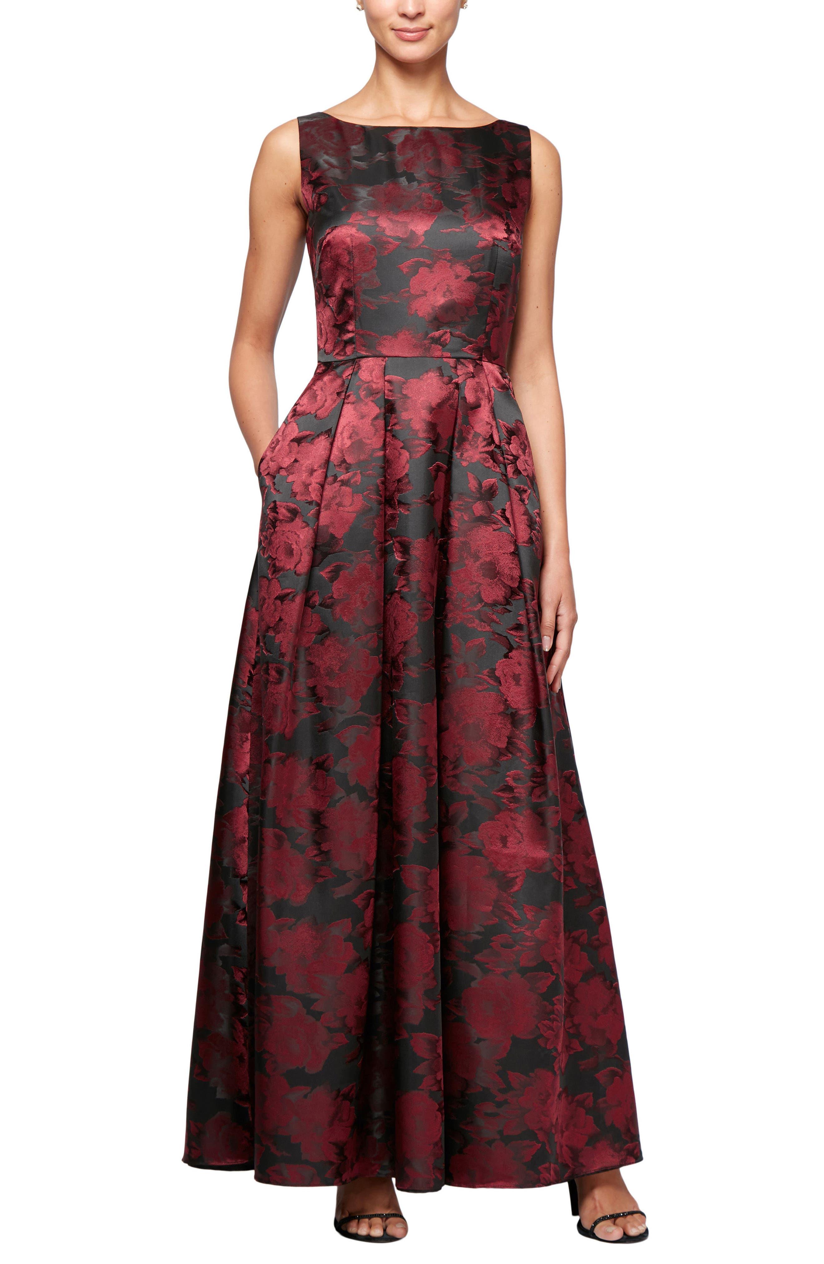 Floral Print A-Line Gown,                         Main,                         color, Black/ Wine