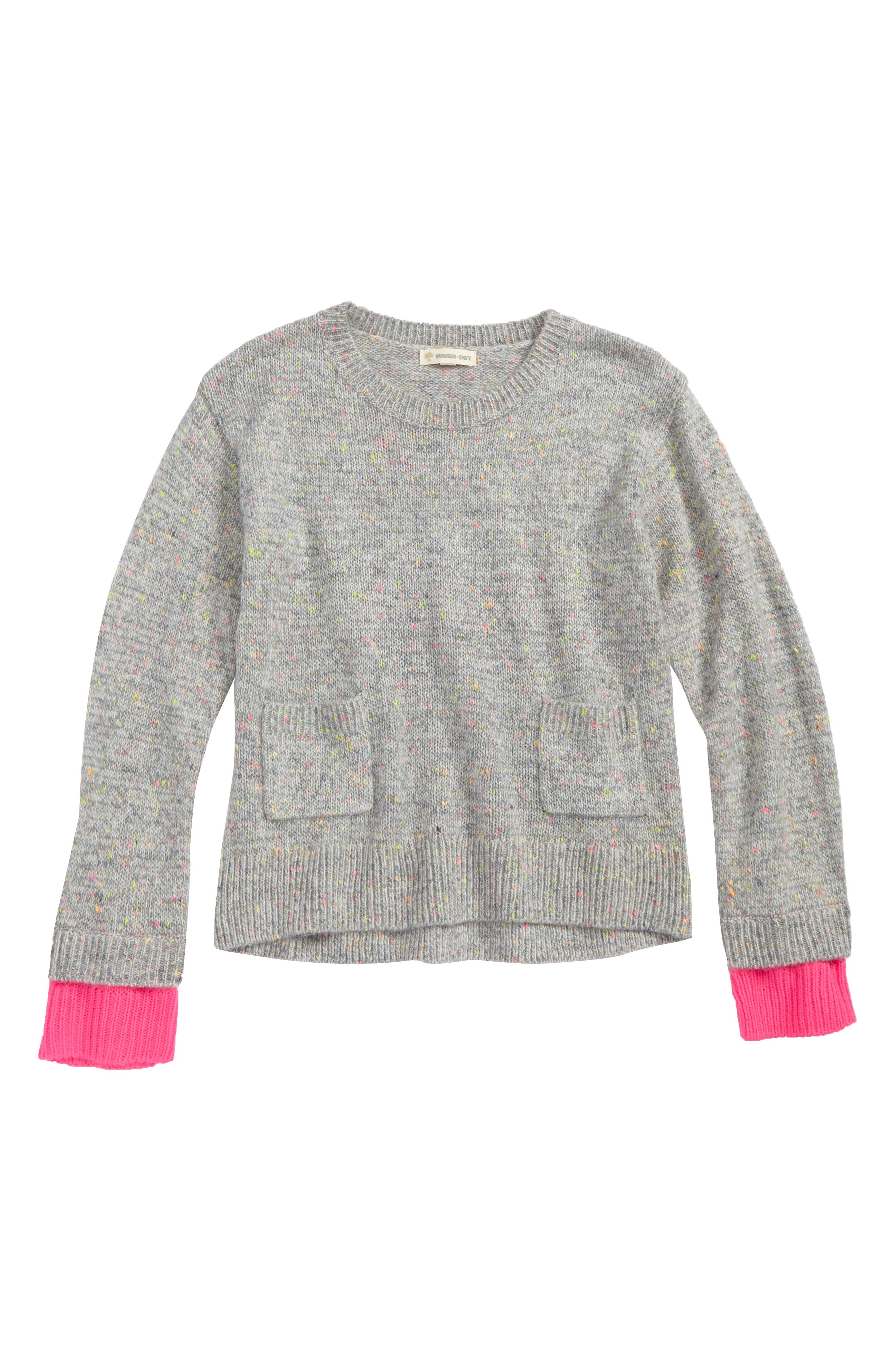 Neon Knit Sweater,                             Main thumbnail 1, color,                             Grey Heather